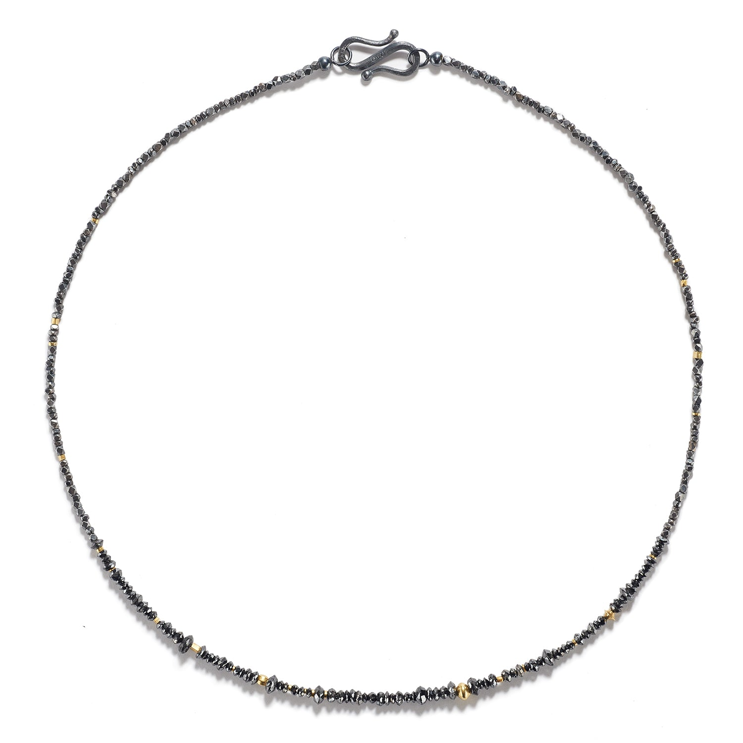 Antique Silver & Gold Necklace with Black Diamonds