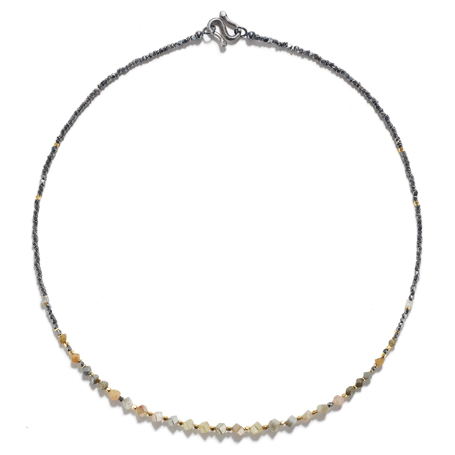 Burma Gold Necklace with Antique Silver & Rough Diamonds