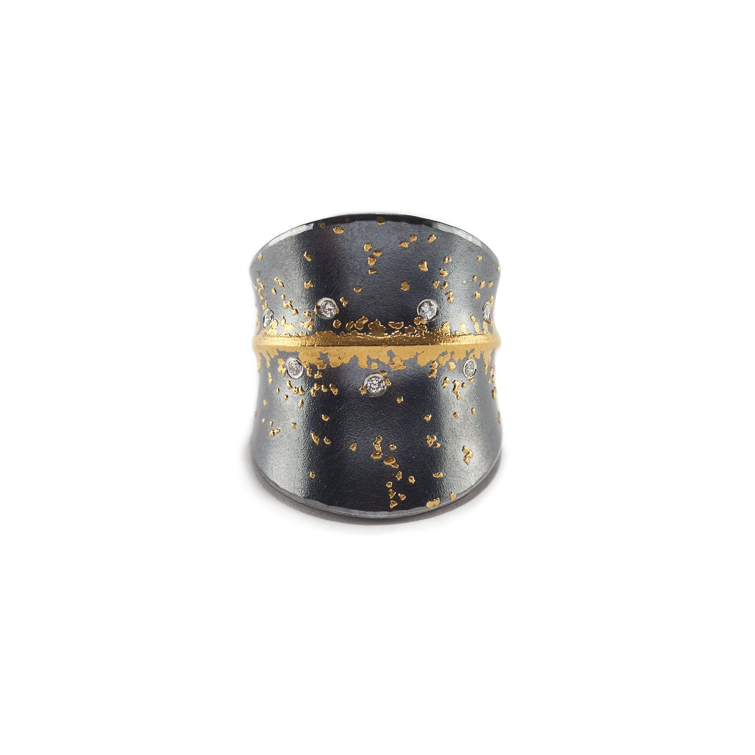 Silver Ring with Diamond & Gold