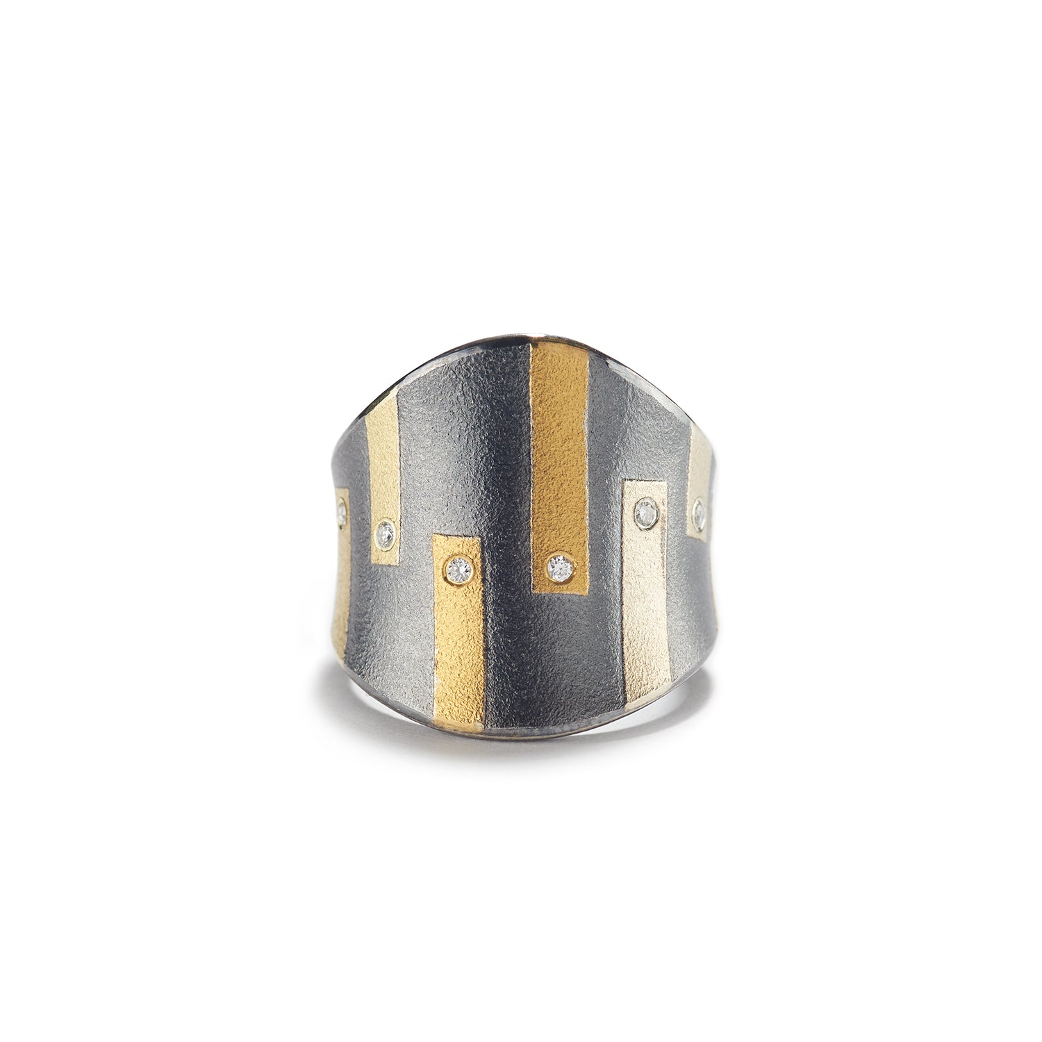 Hues of Gold & Diamond Ring with Silver