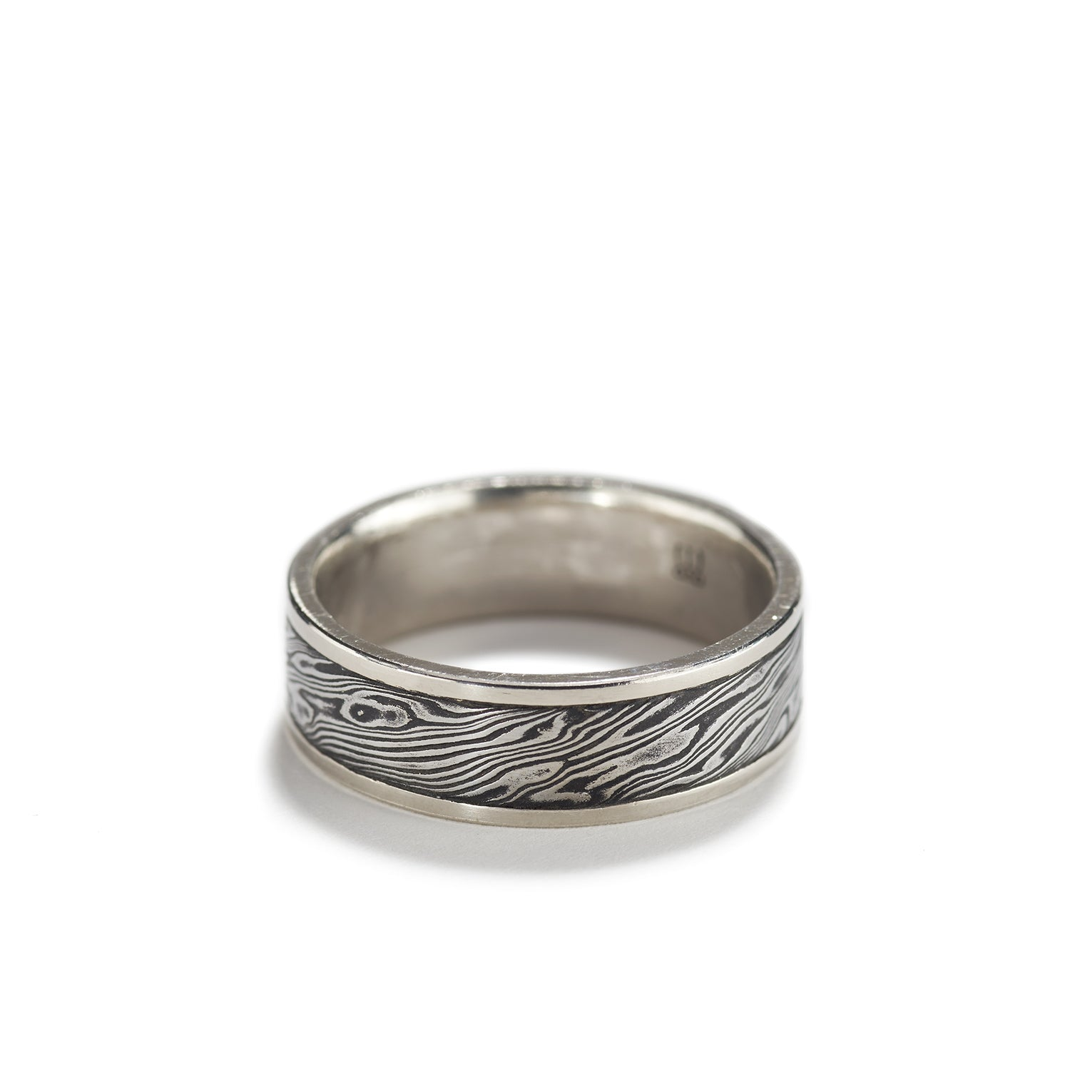 Damascus Steel Ring with Palladium~7mm