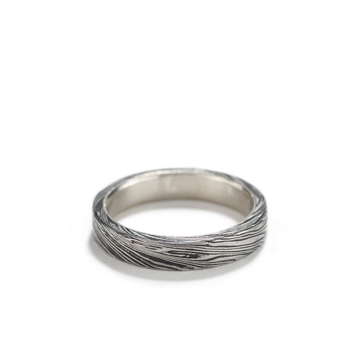 Damascus Steel Ring with Platinum~4mm