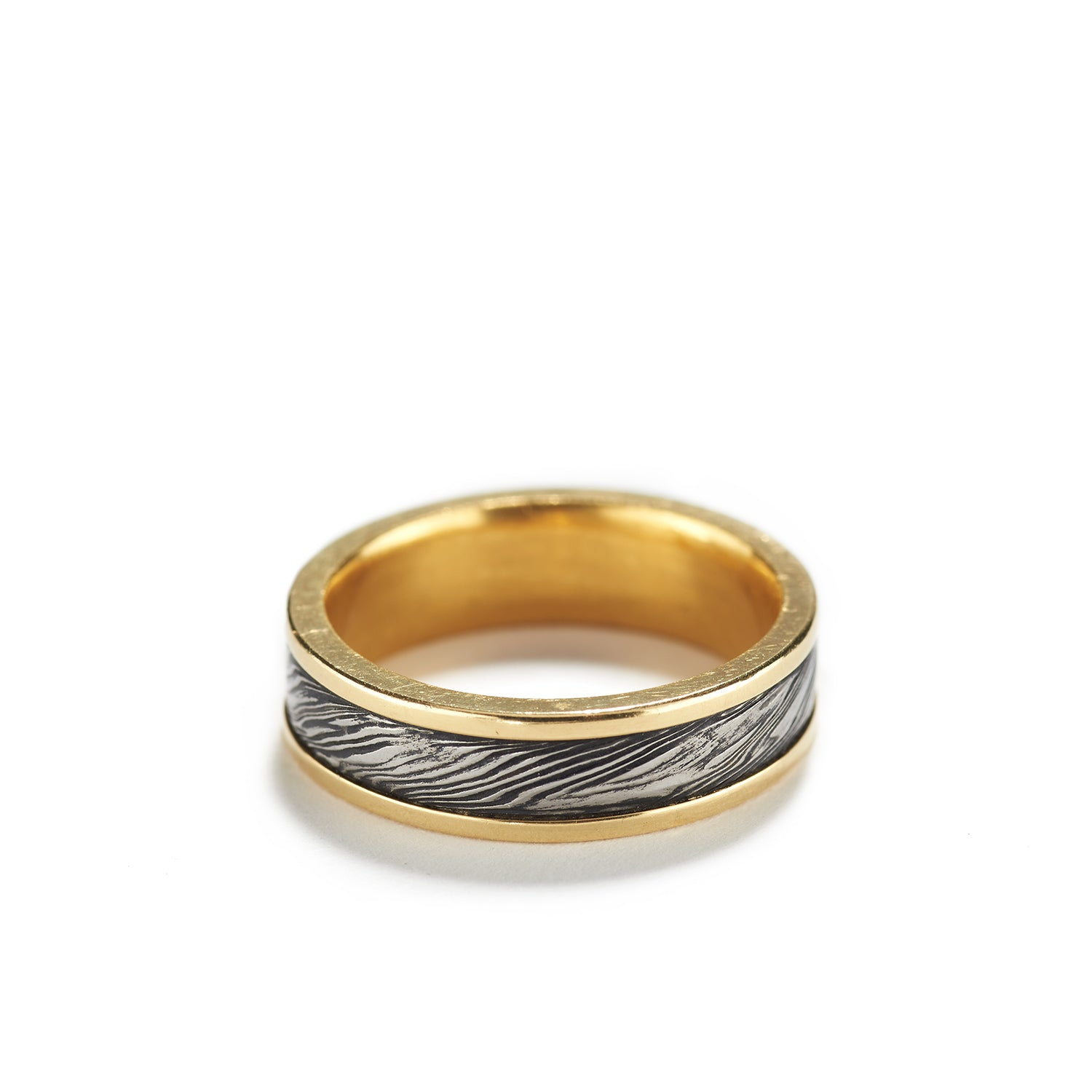Damascus Steel Ring with Gold~5mm