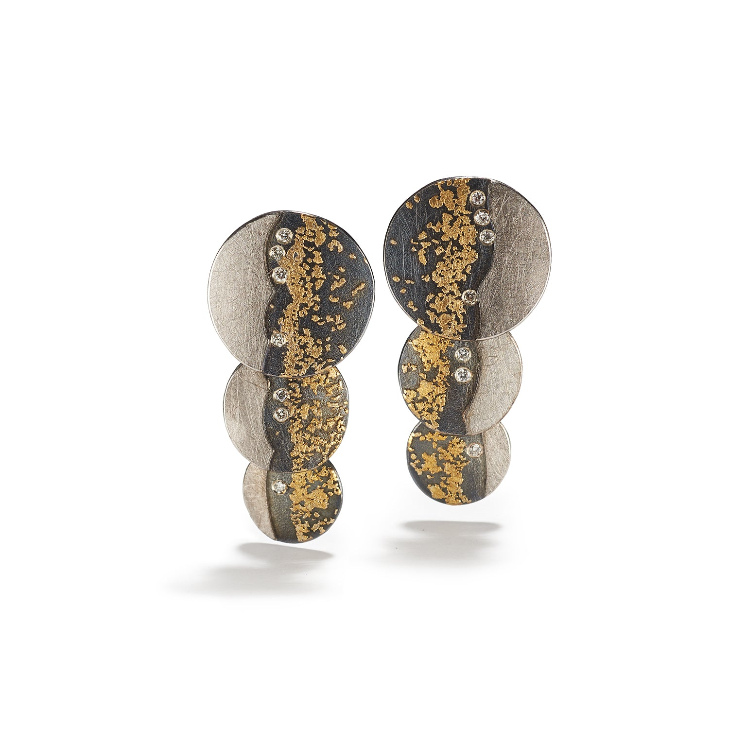 Palladium & Gold Disk Earrings