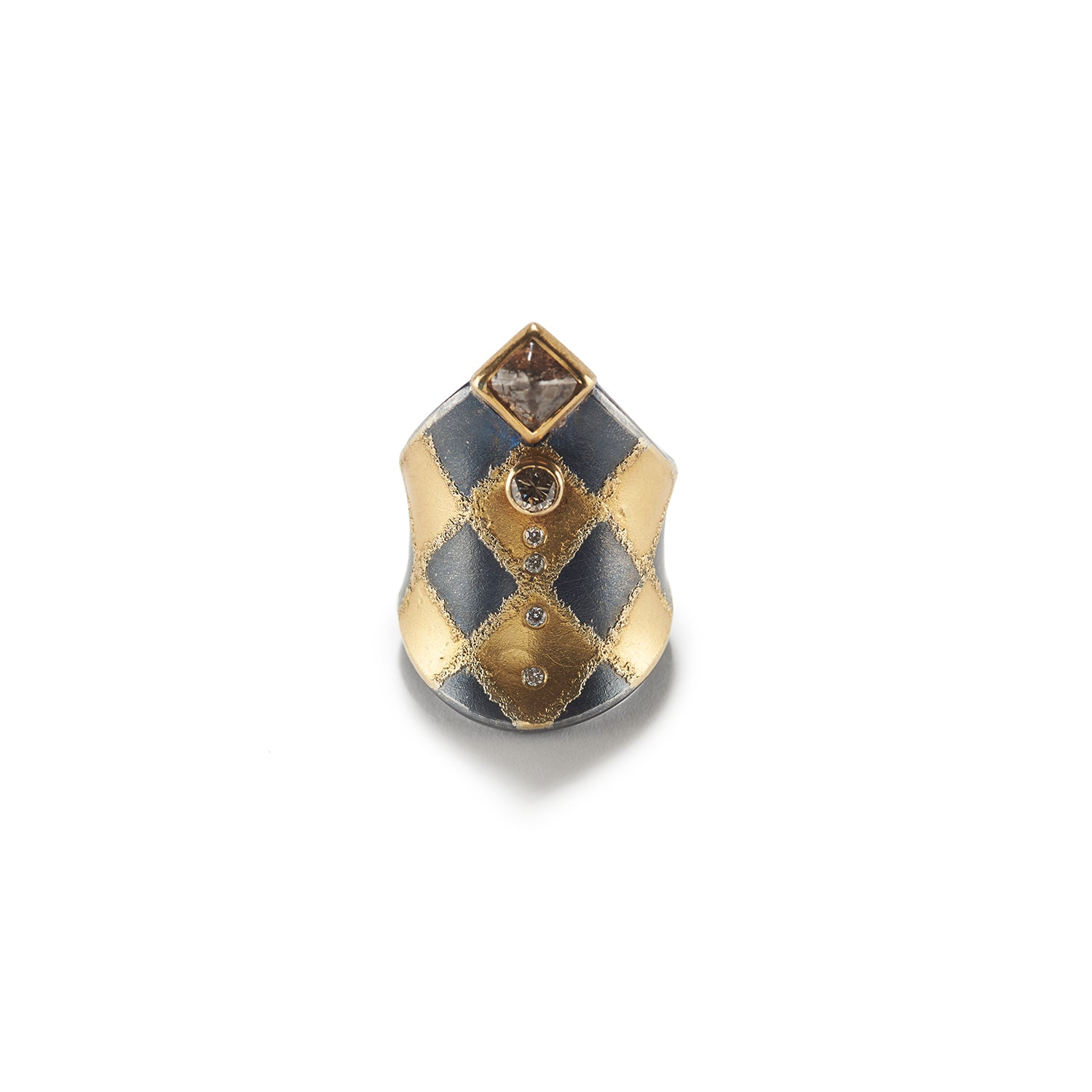 Harlequin Ring with Raw Diamond