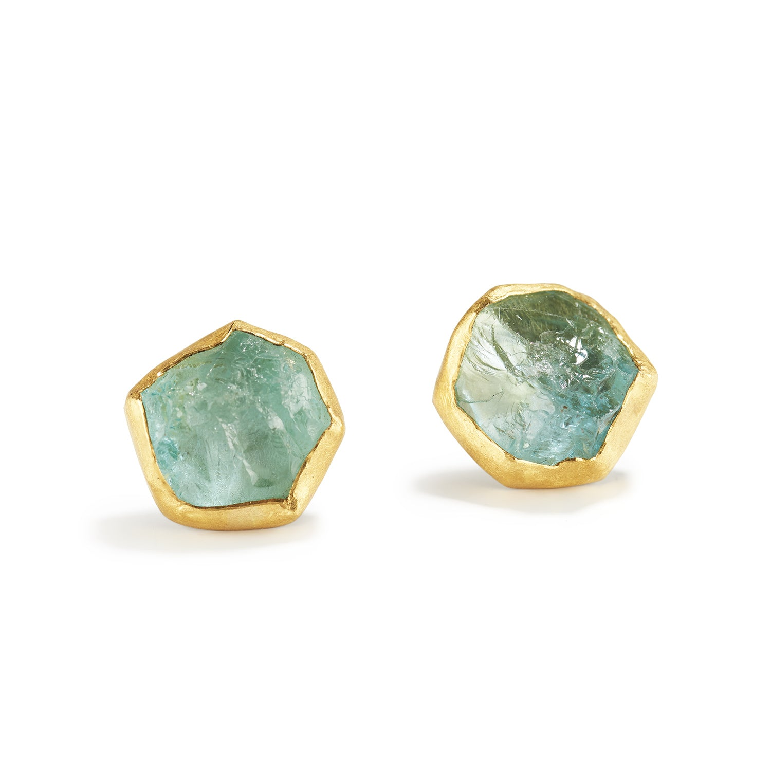 Aquamarine Crystal Ear Studs