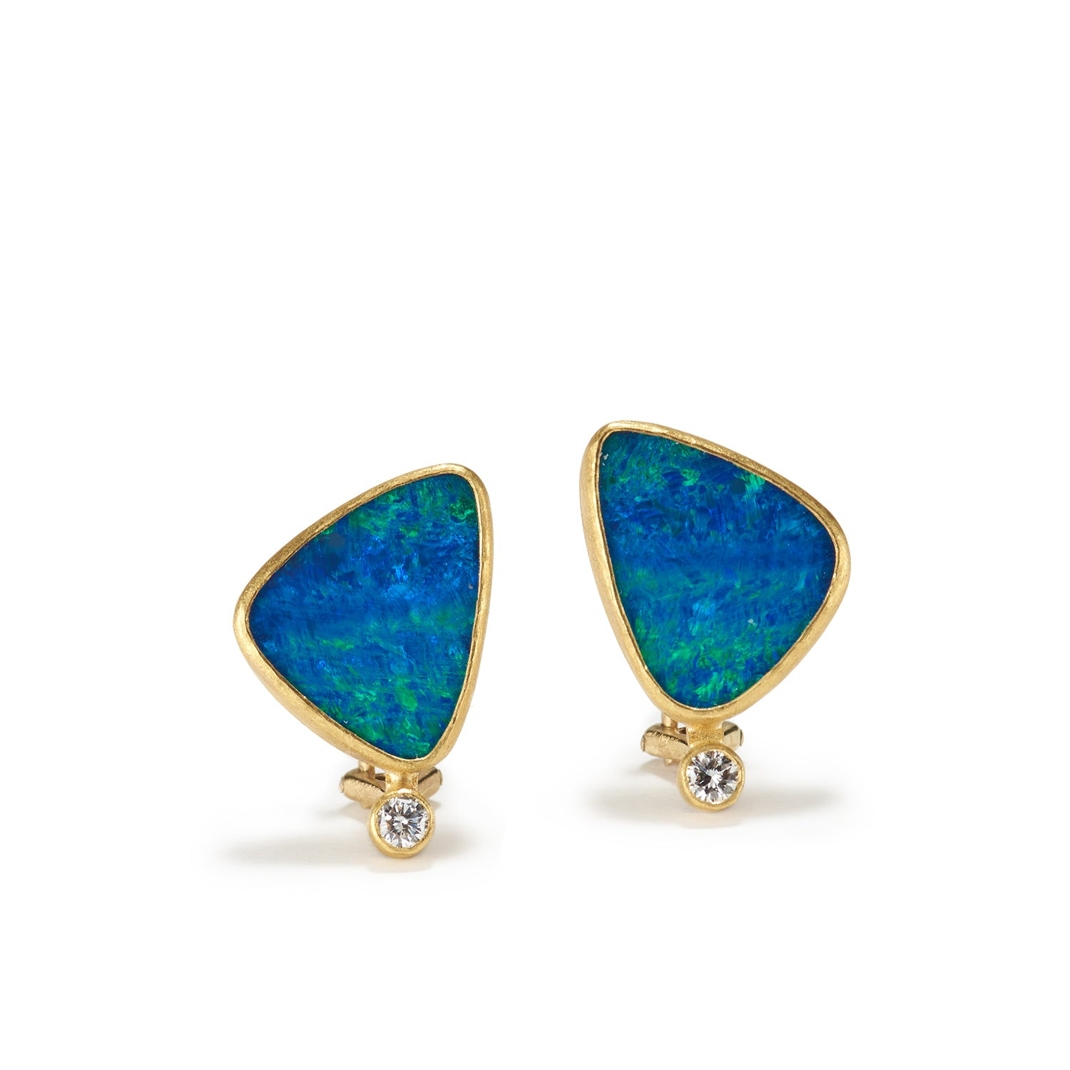 Opal Doublet Diamond Earrings