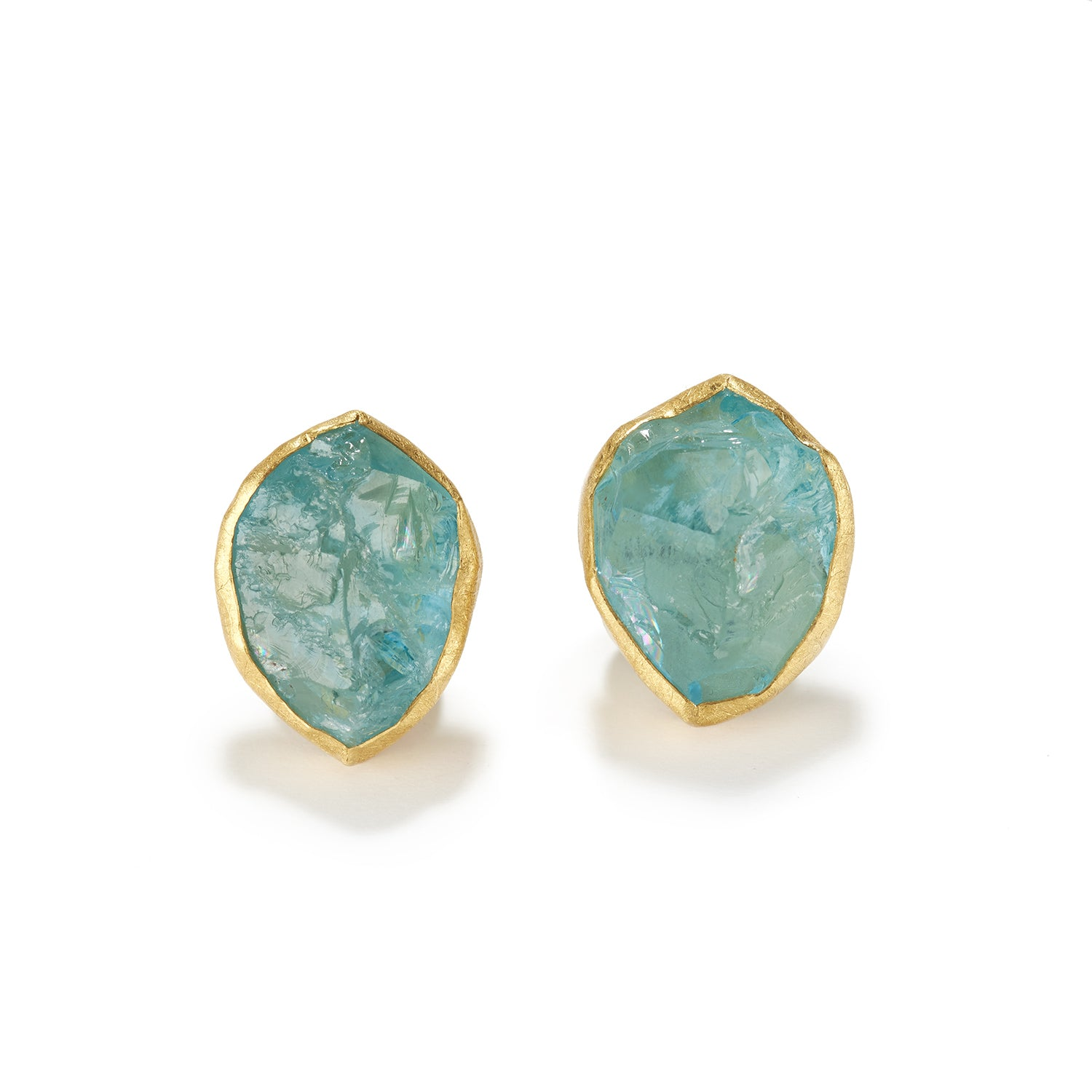Aqua Crystal Omega Earrings