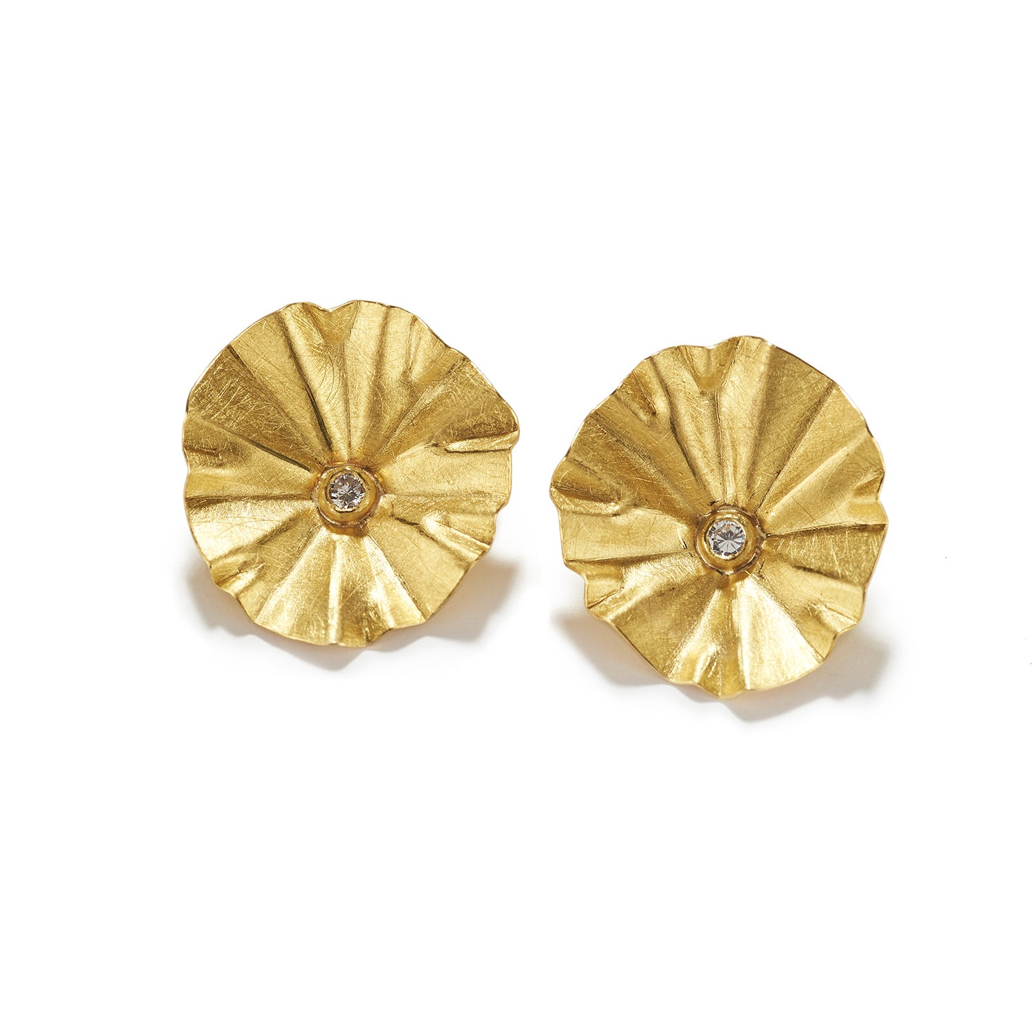 Lotus with Faceted Round Diamond Earrings