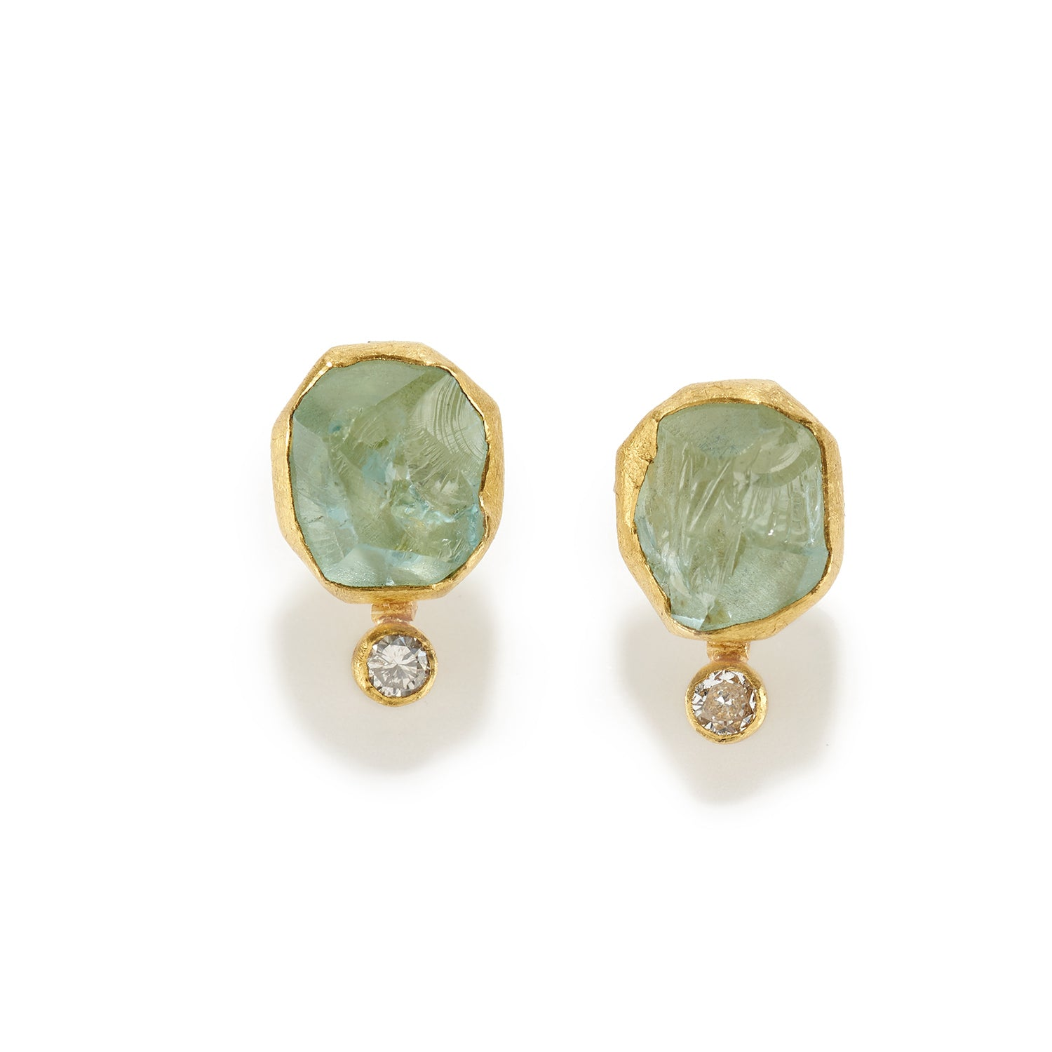 Aquamarine Crystal and Diamond Earrings