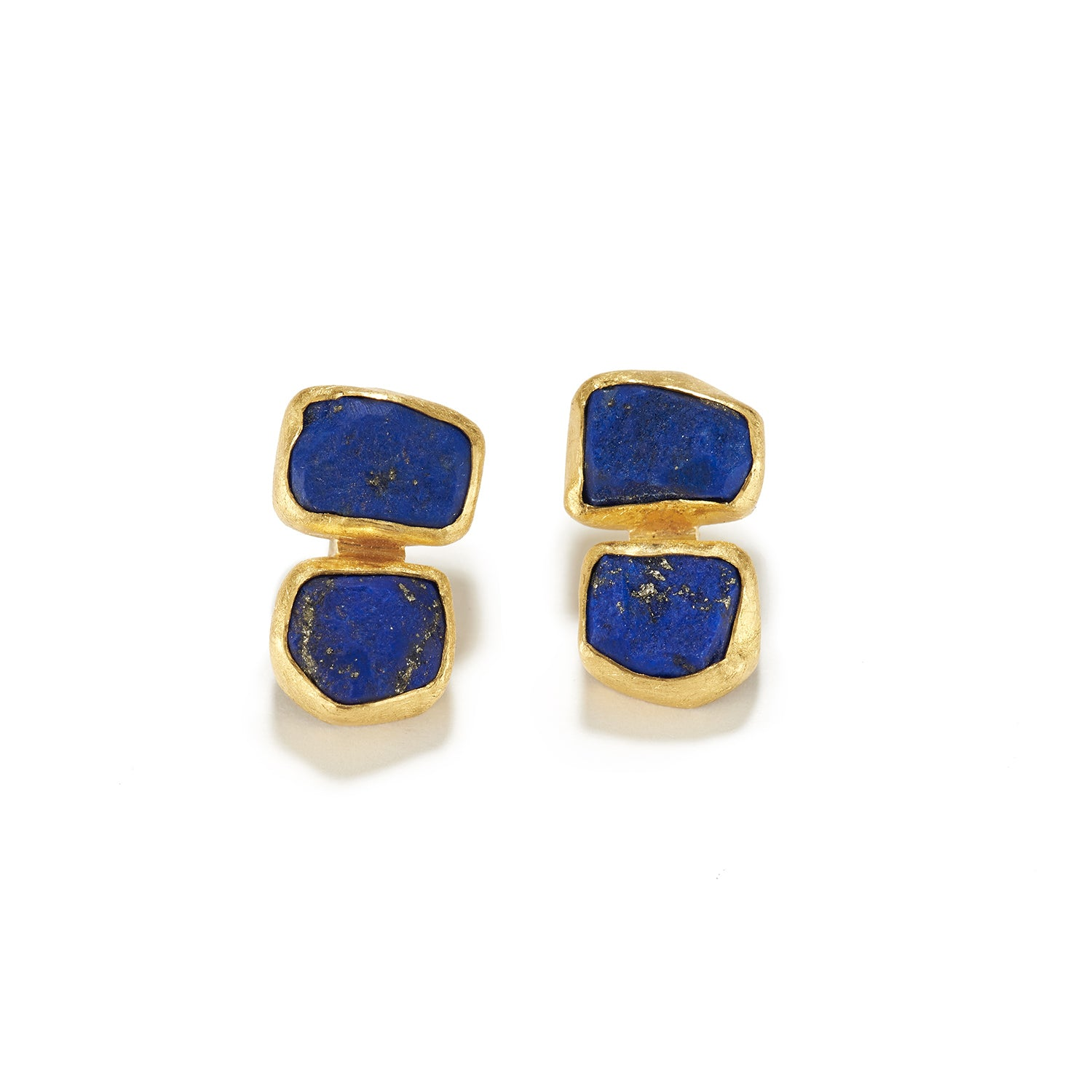 Stacked Rough Lapis Earrings