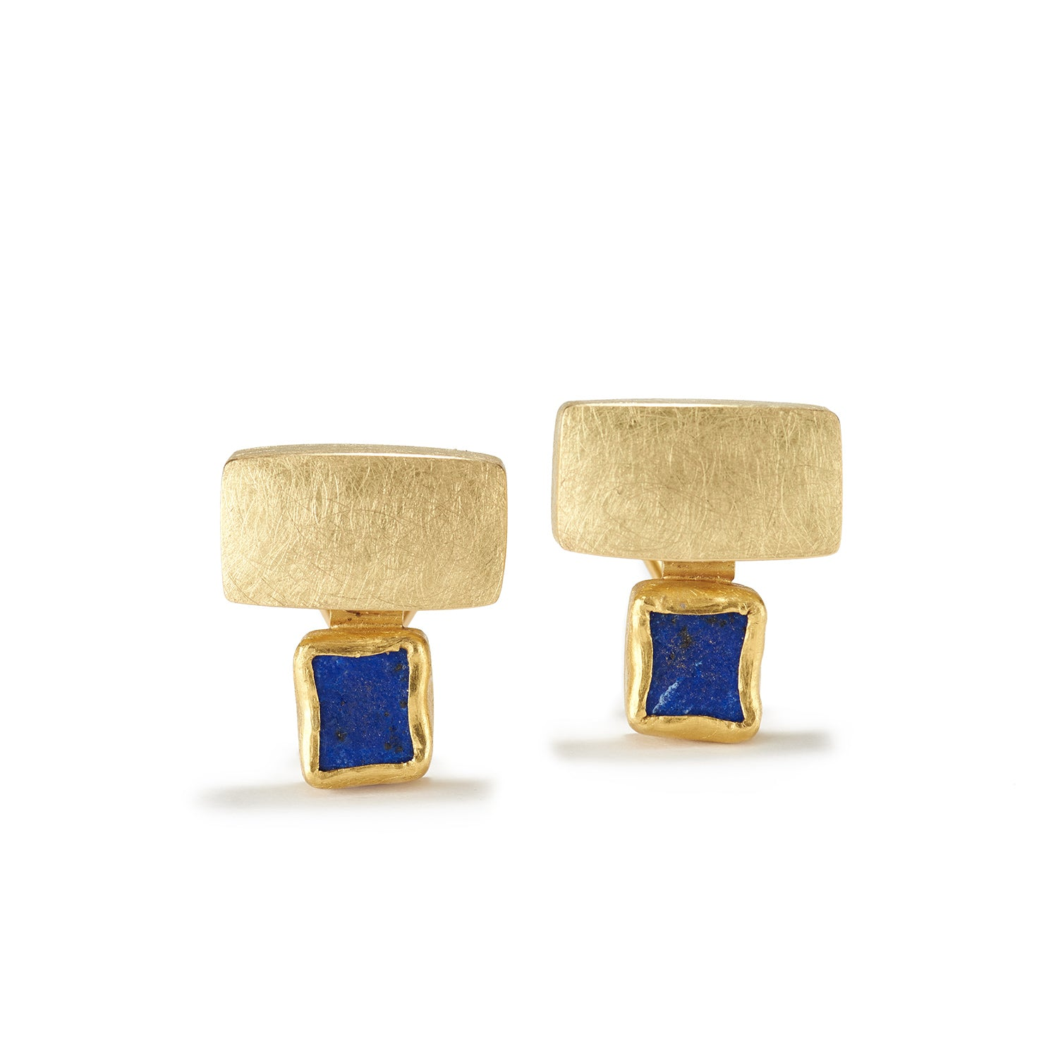 Gold and Rough Lapis Earrings