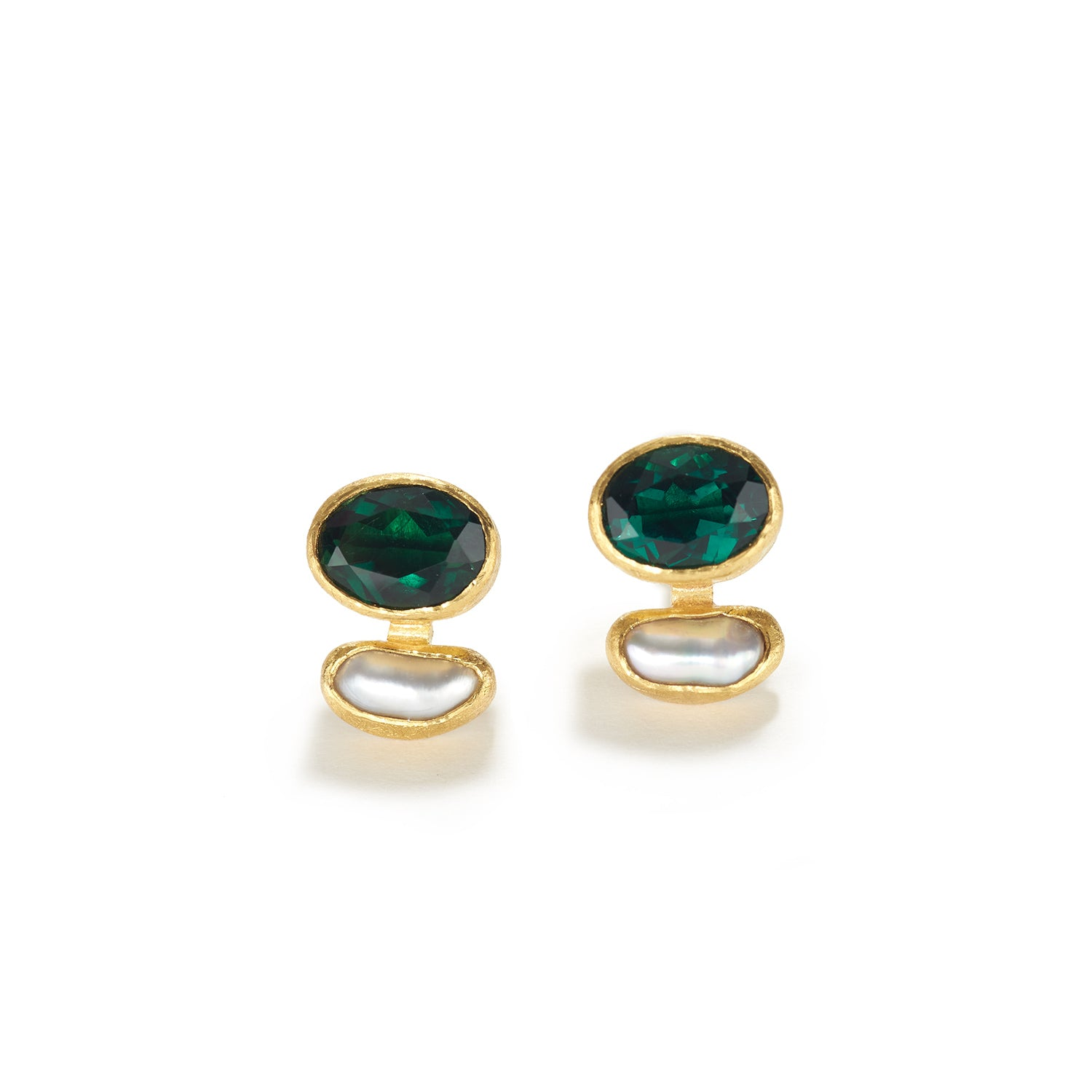 Green Tourmaline Earrings with Keshi Pearl