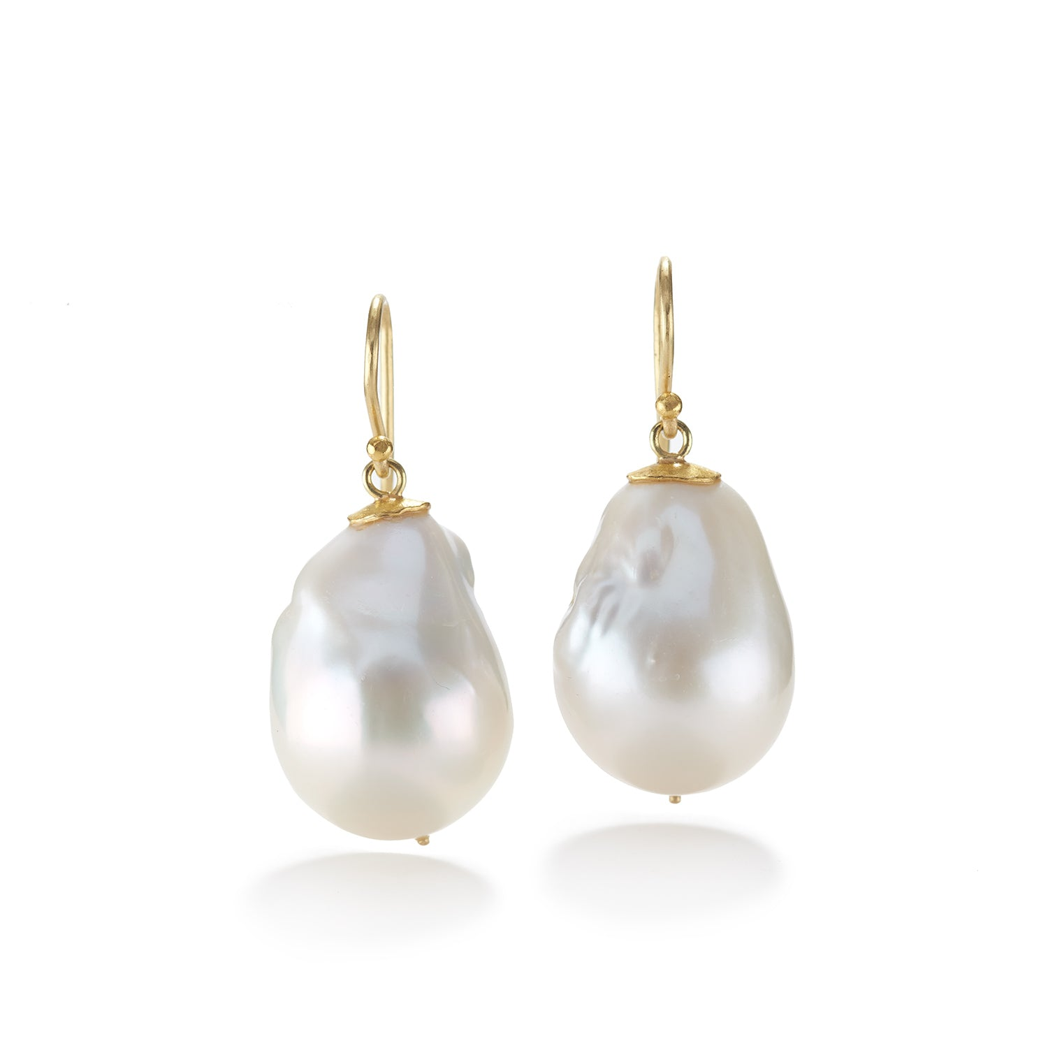 Large White Baroque Pearl Earrings
