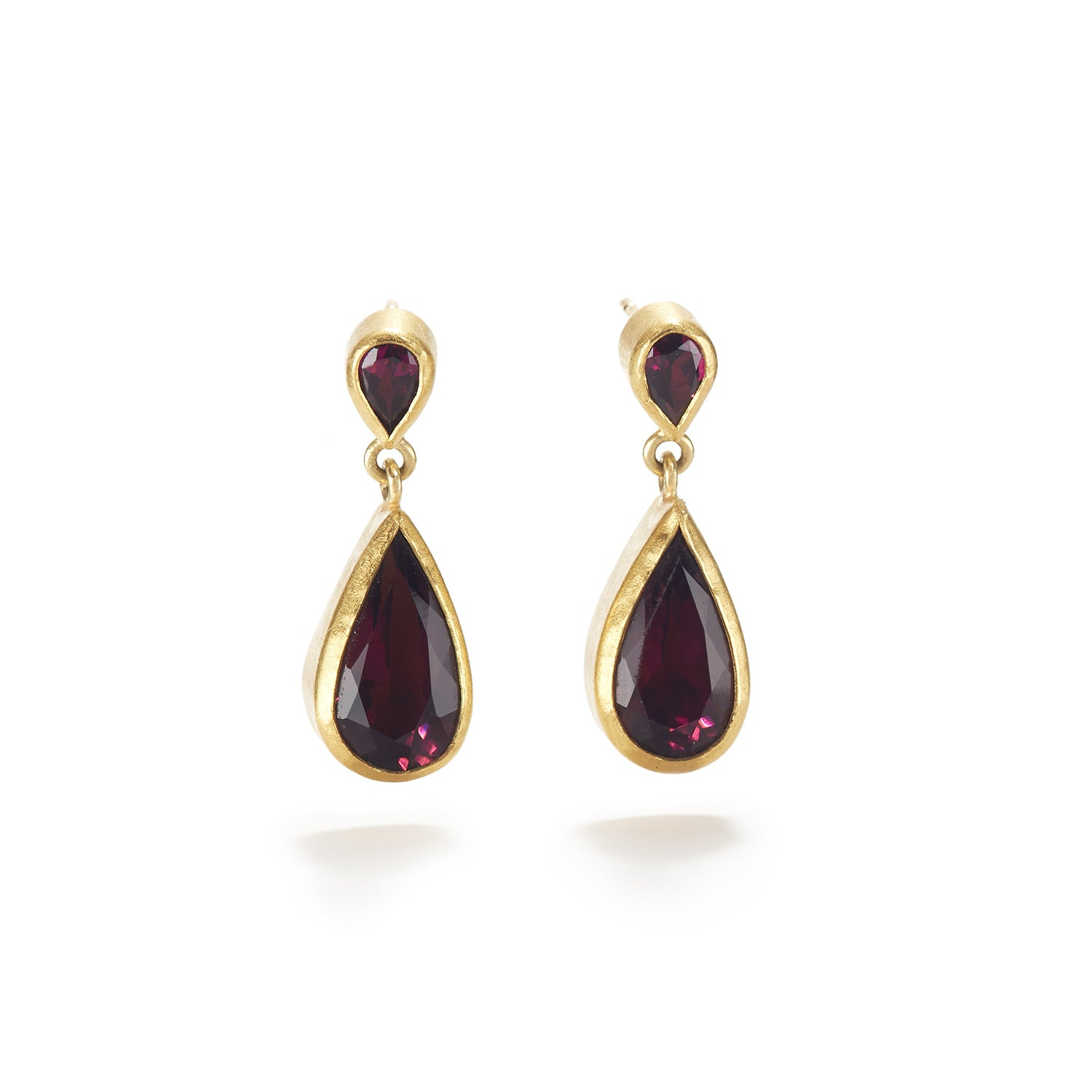 Two Garnet Drop Earrings