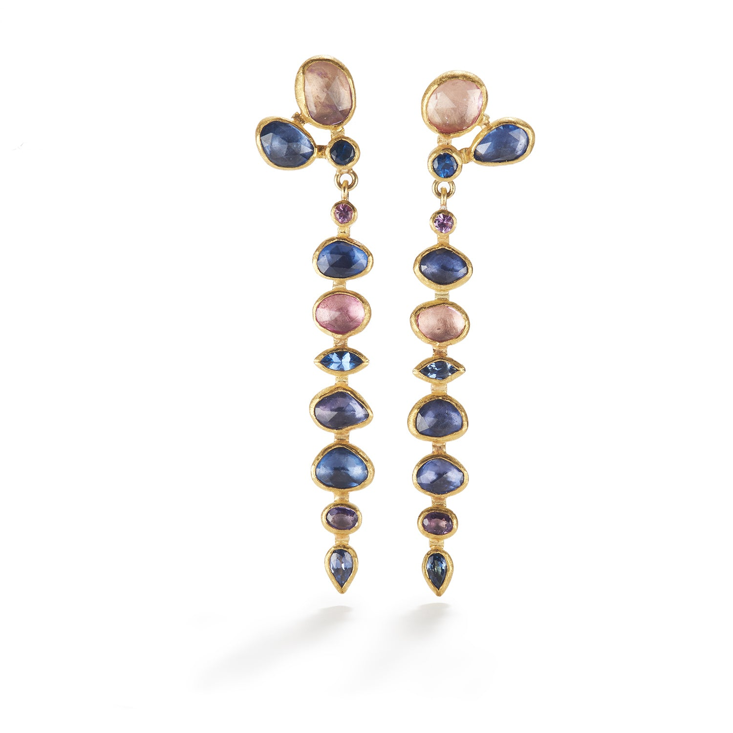 Rose cut, Faceted and Rough Sapphire Dangles