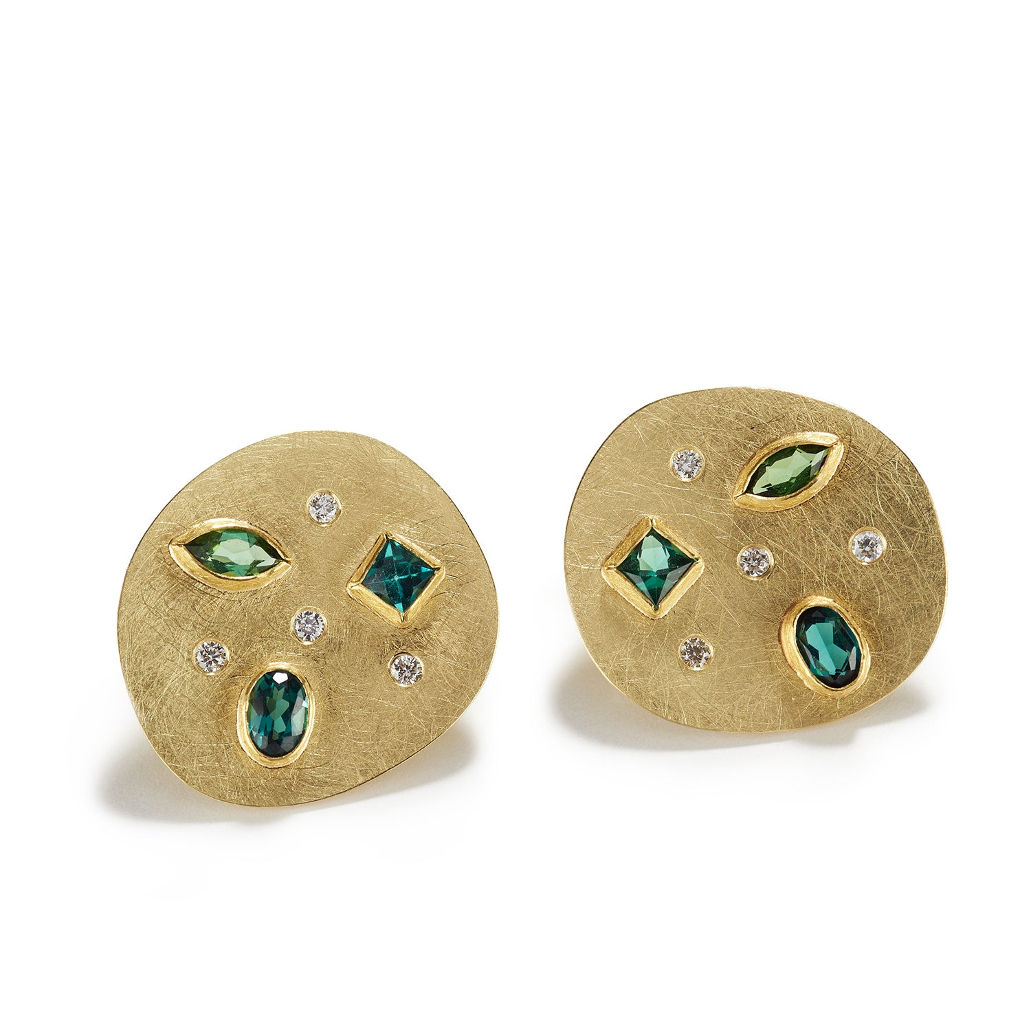 Golden Disks with Tourmaline Stud Earrings