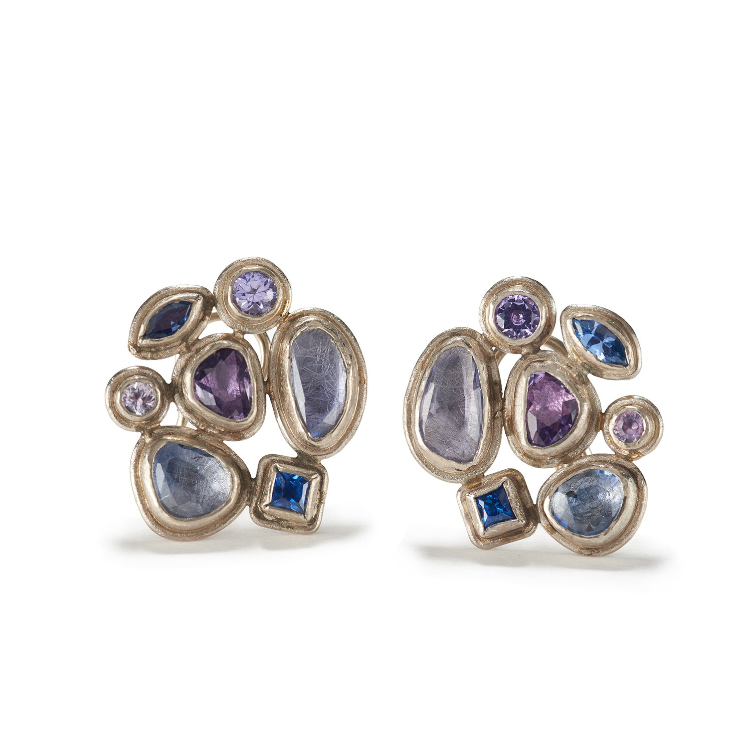 Faceted Sapphire Earrings with White Gold