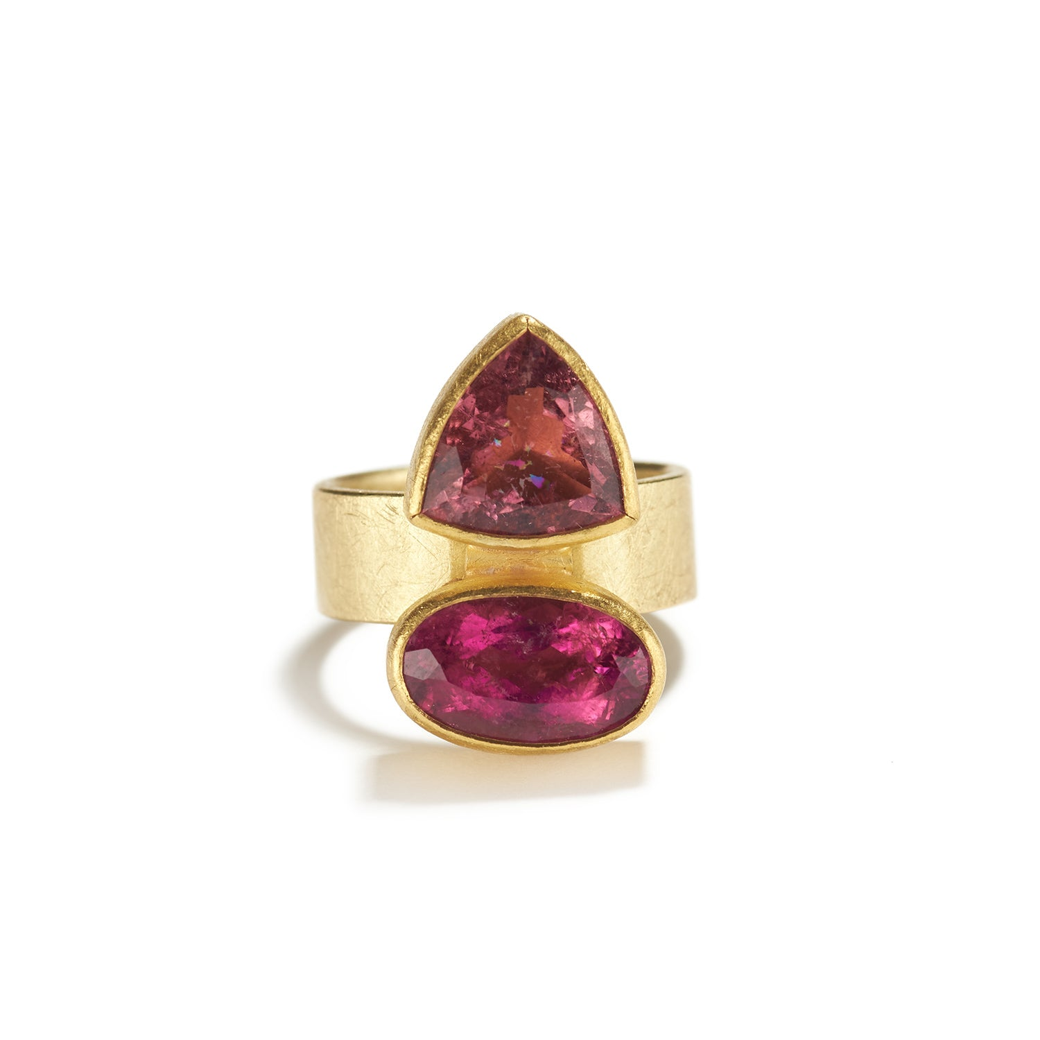 Faceted Red and Pink Tourmaline Ring