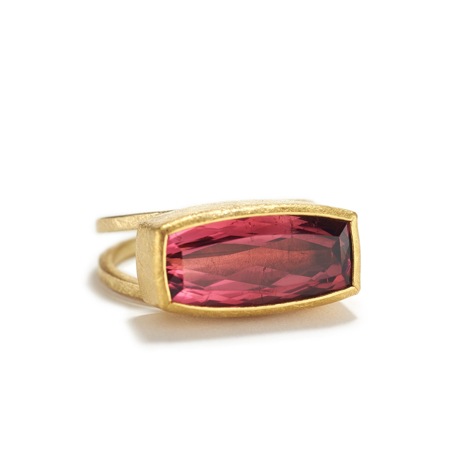 Faceted Red/Pink Tourmaline Ring