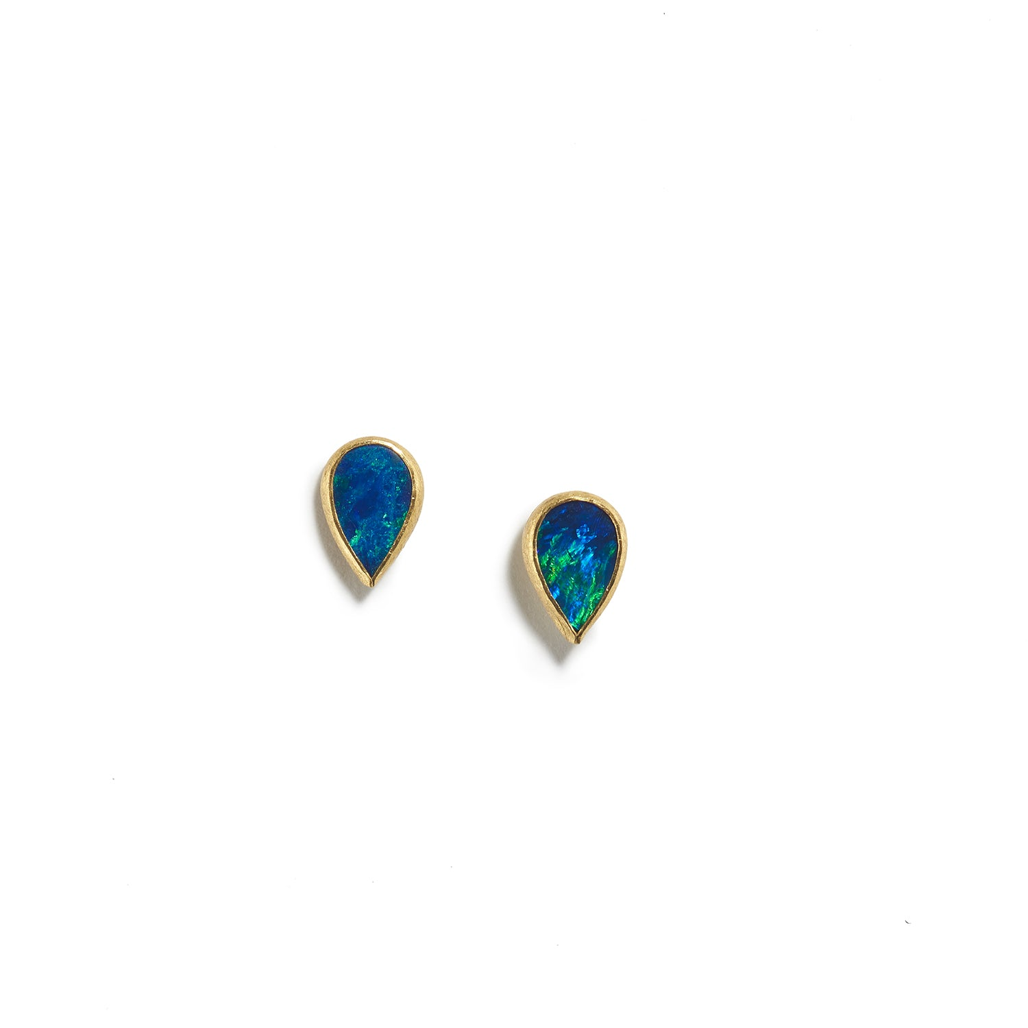 Small Australian Opal Drop Shaped Earrings
