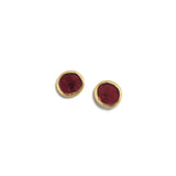 Oval Garnet Slice Earrings