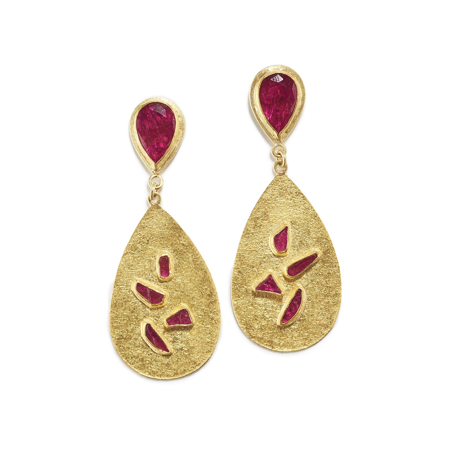 Gold Drop Earrings with Ruby