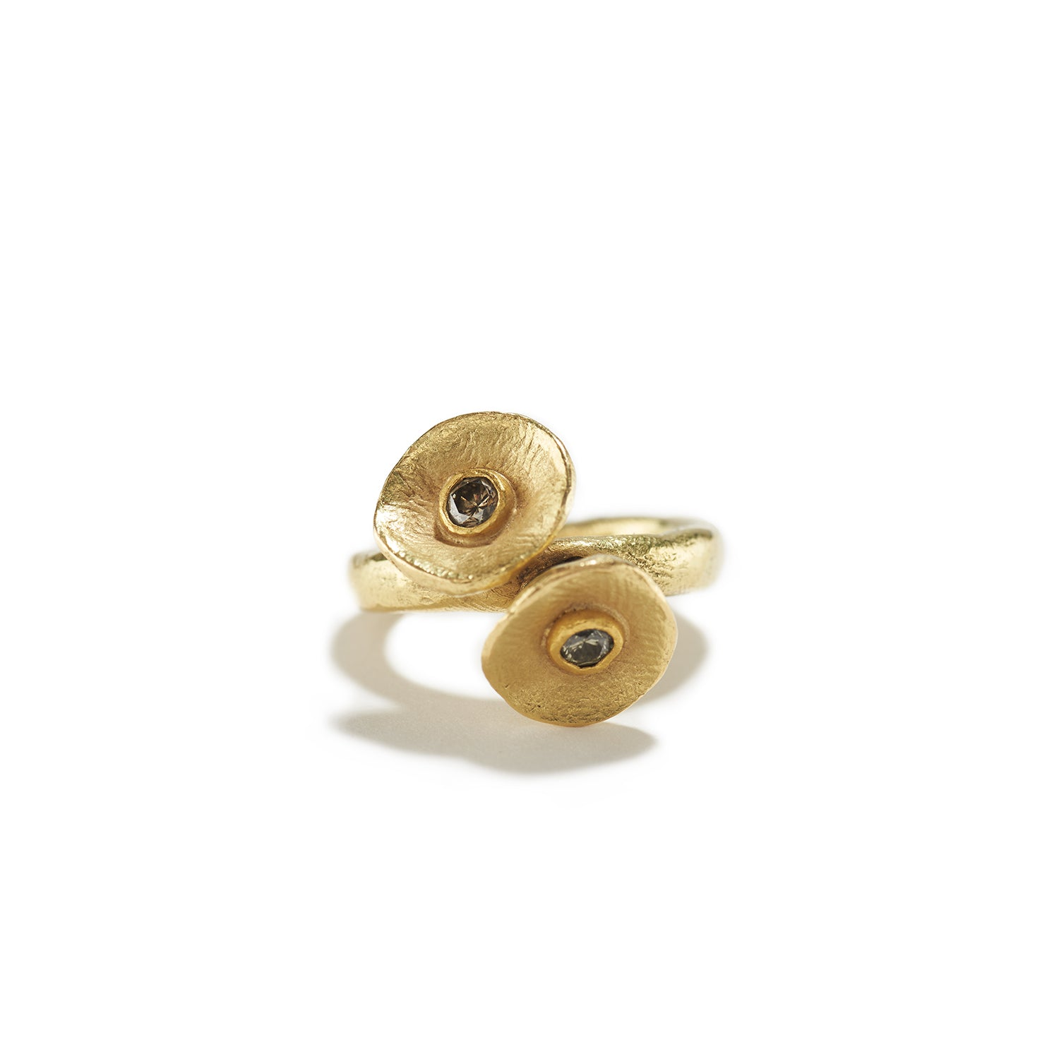 Gold & Brown Diamond Mushroom Ring