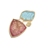 Aquamarine & Tourmaline Slice Brooch