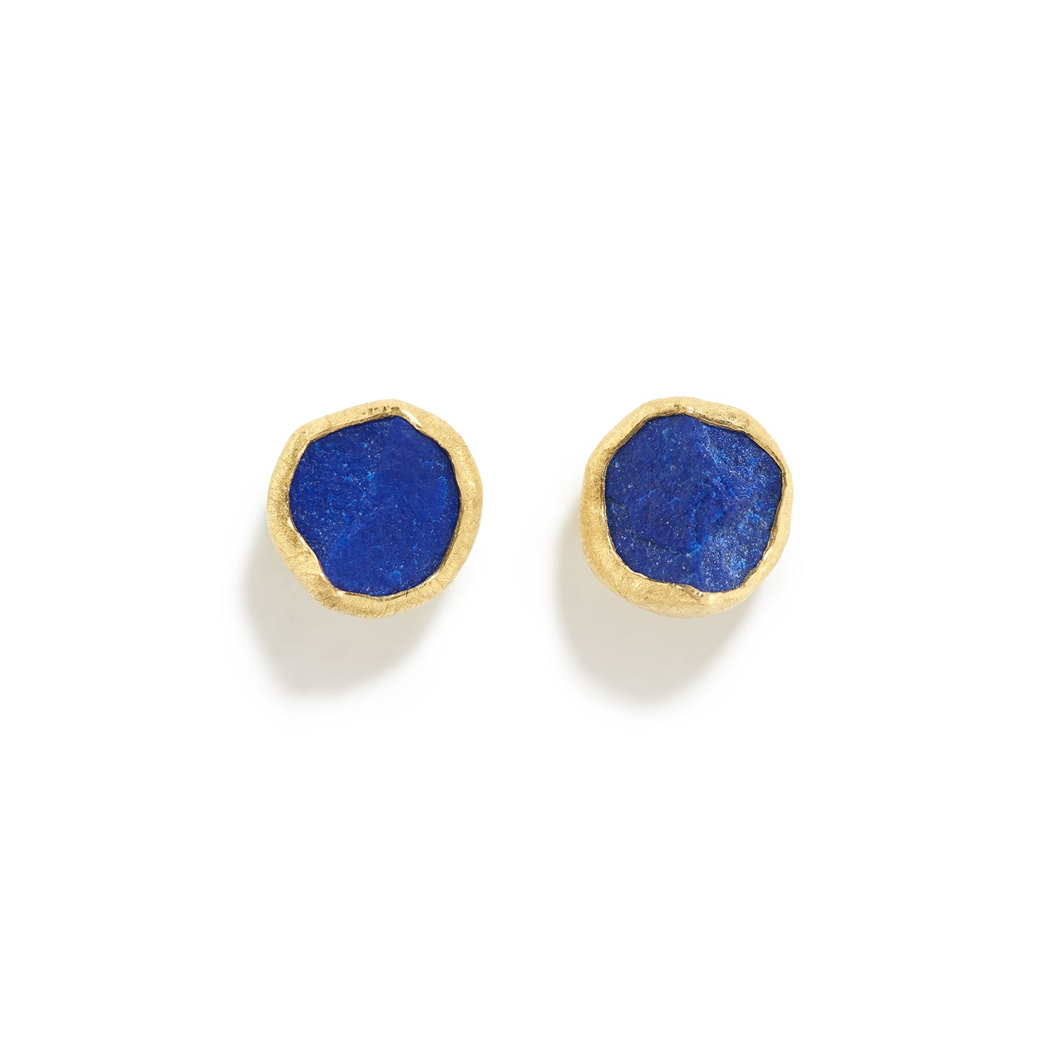 Round Rough Lapis Lazuli Stud Earrings