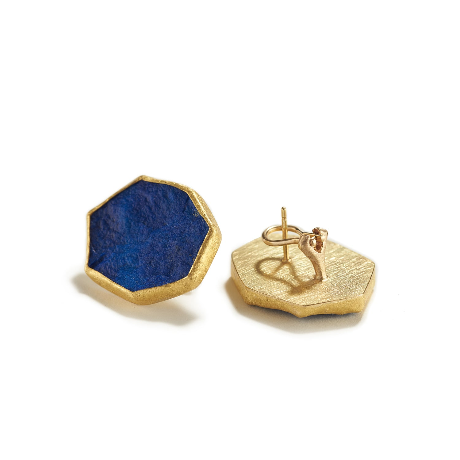 Lapis Slice Stud Omega Earrings