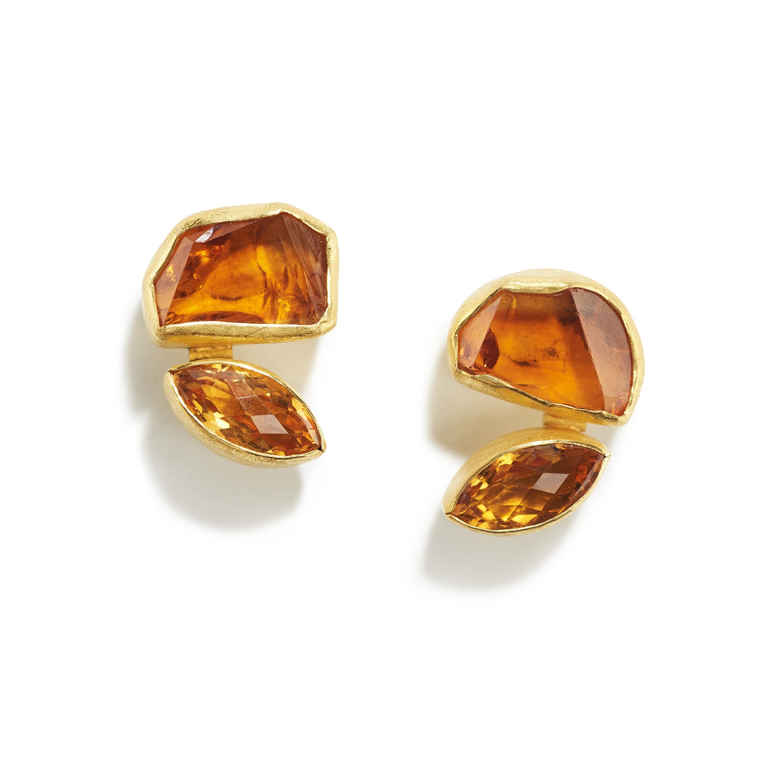 Citrine Crystal & Faceted Earrings