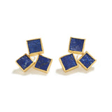 Triple Raw Lapis Earrings