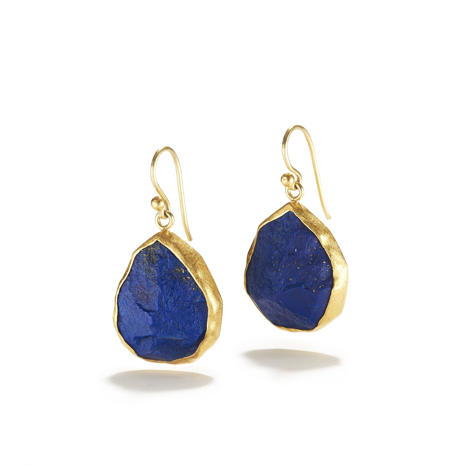 Rough Lapis Lazuli Drops on Wire Earrings