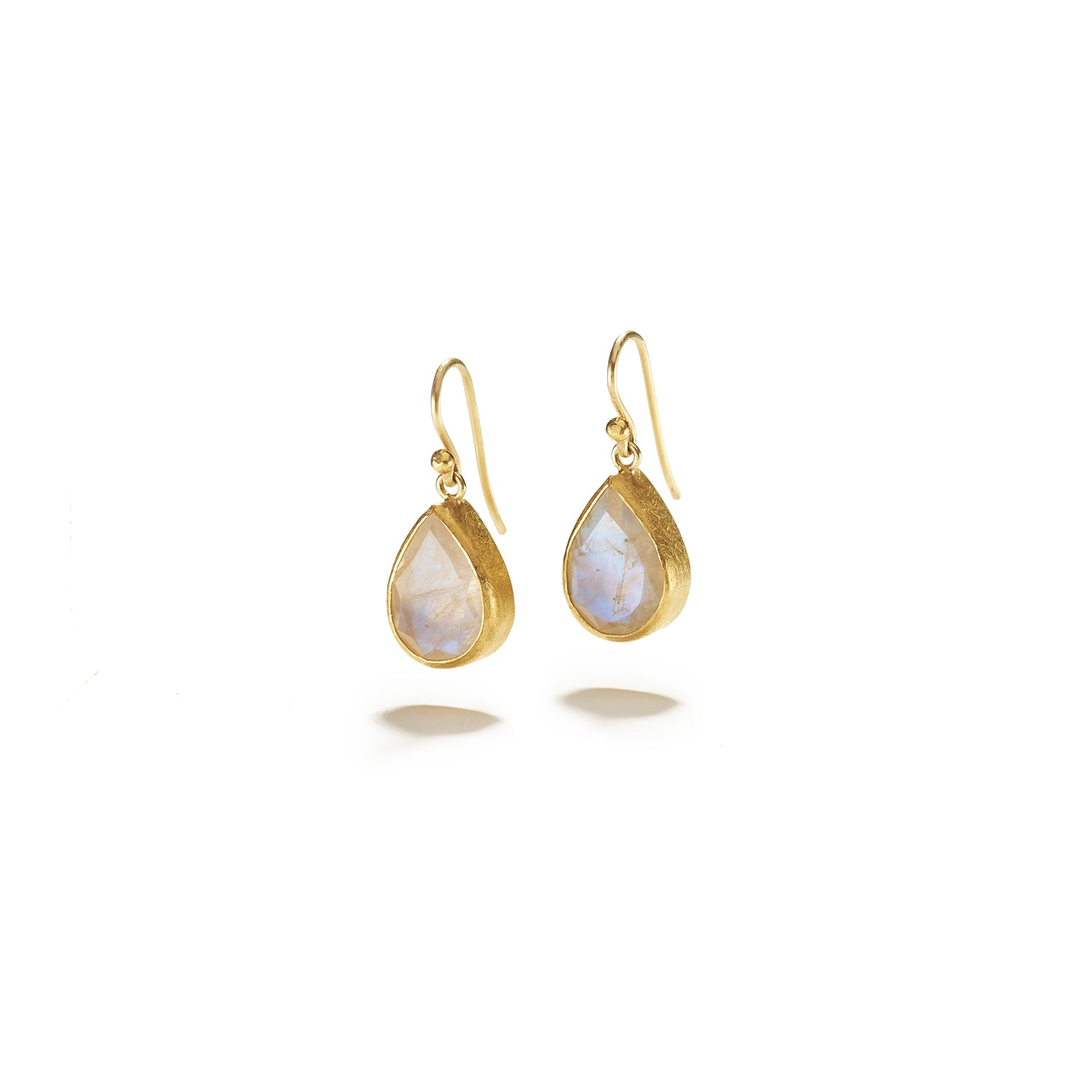 Faceted Moonstone Drops on French Wire