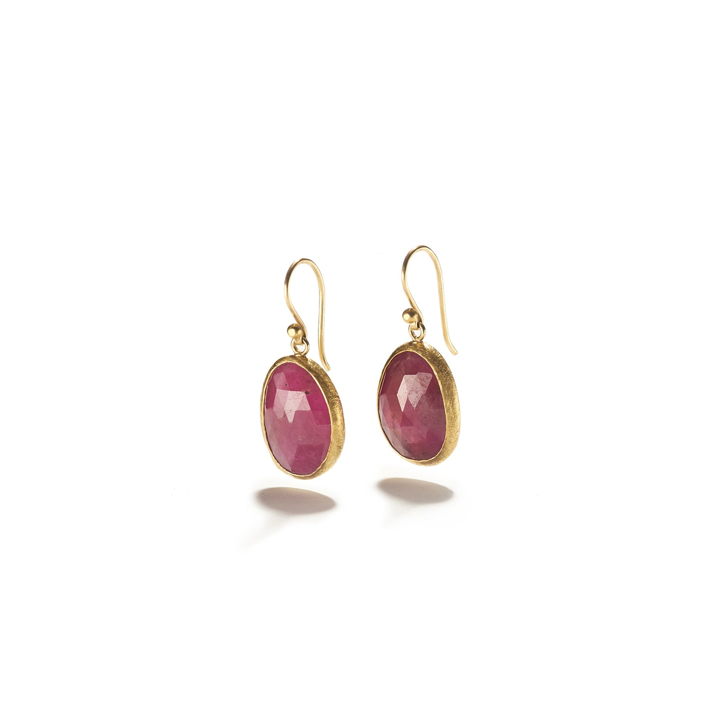 Rose Cut Pink Sapphire on French Wire Earrings