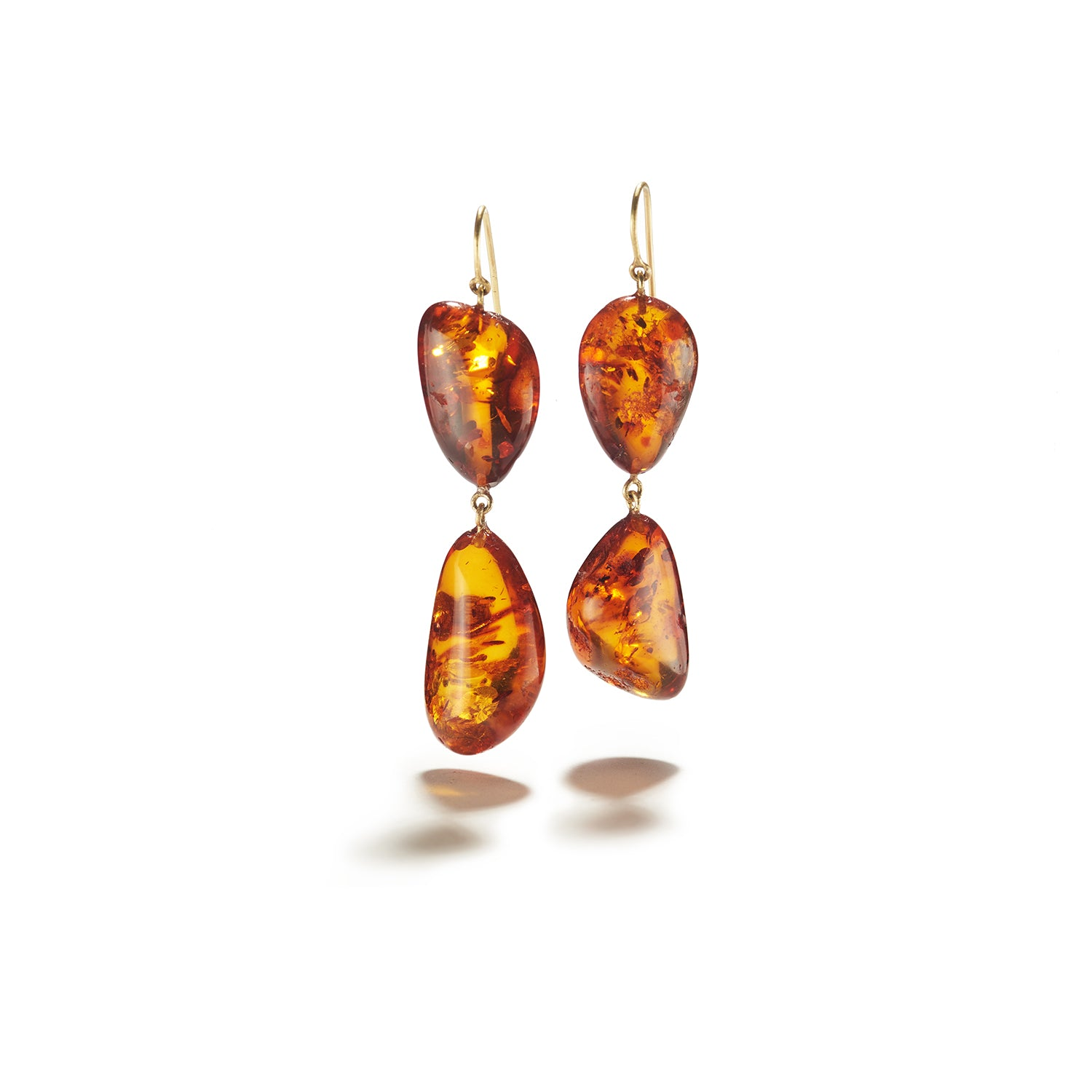 Cognac Amber on French Wire Earrings