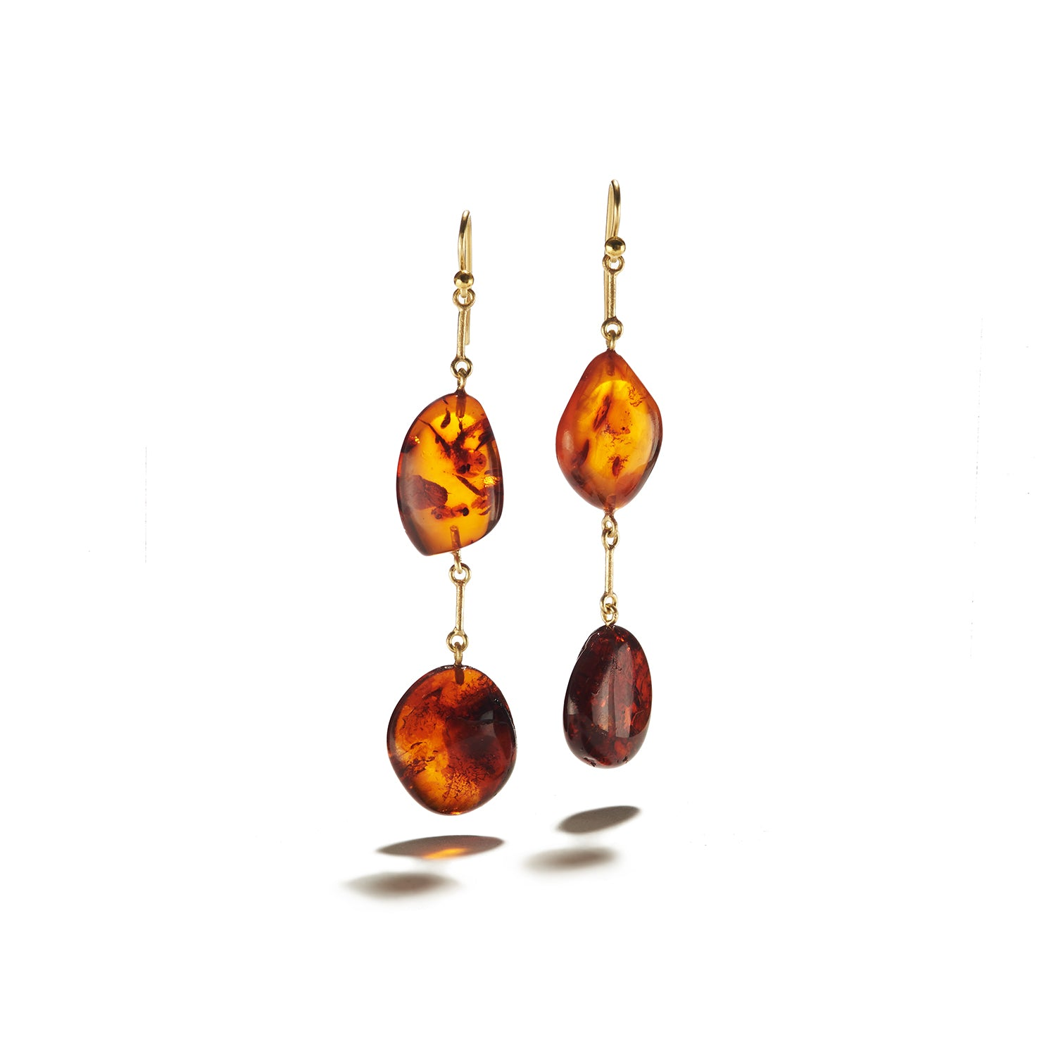 Cognac Amber Pebbles on French Wire Earrings