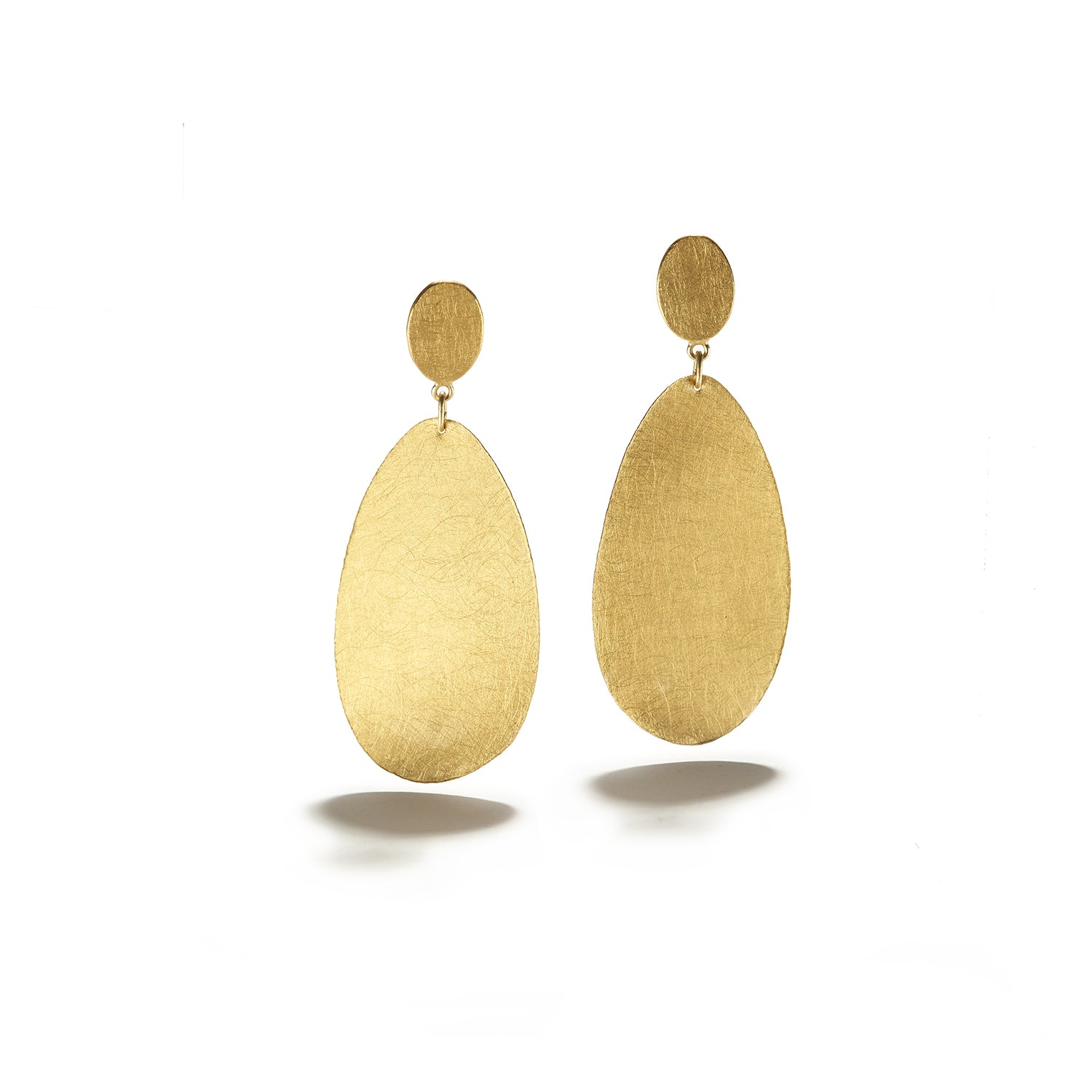 Oval Hanging Gold Earrings