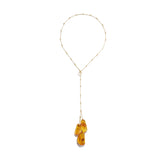 Honey Amber Long Drop Necklace
