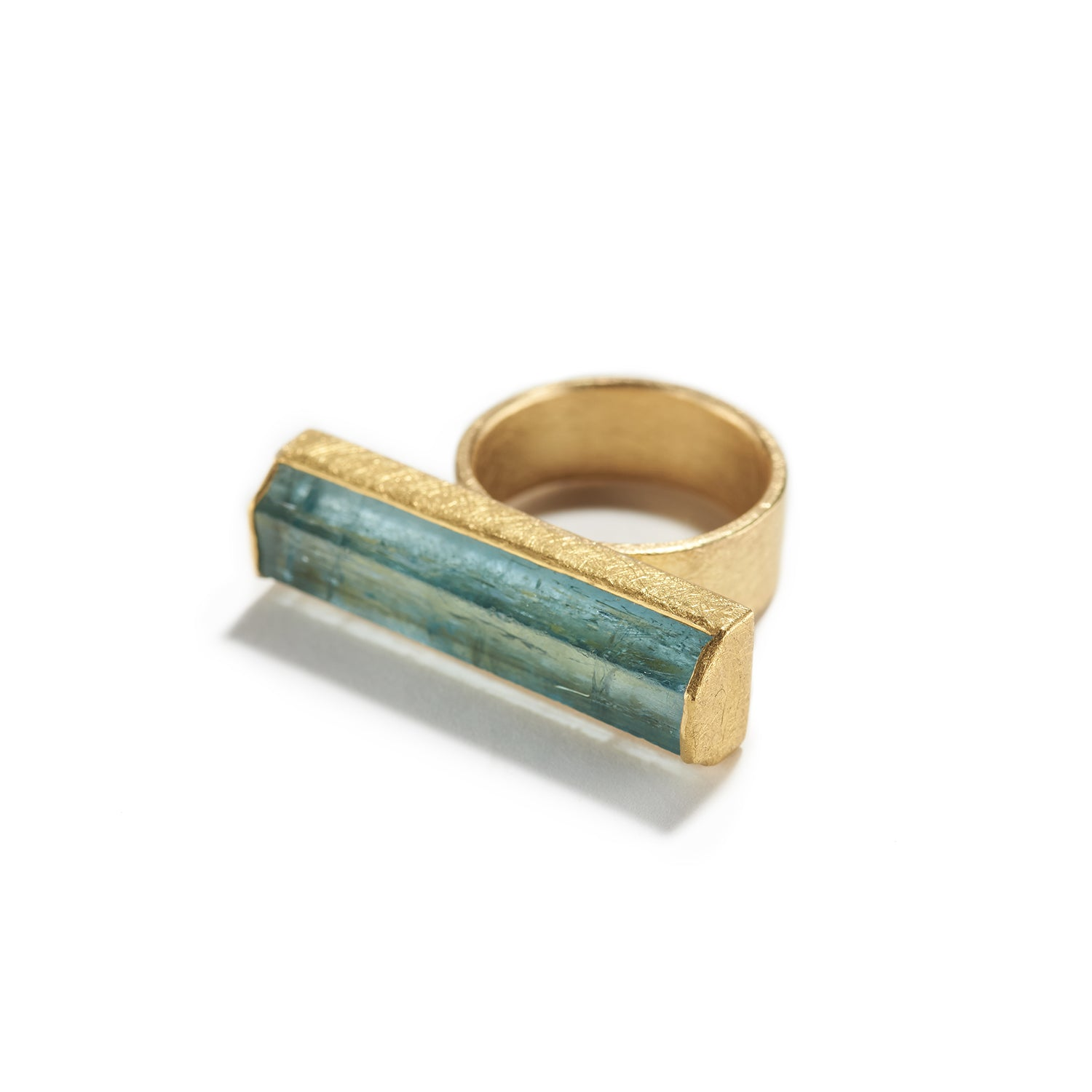 Long Aquamarine Crystal Ring