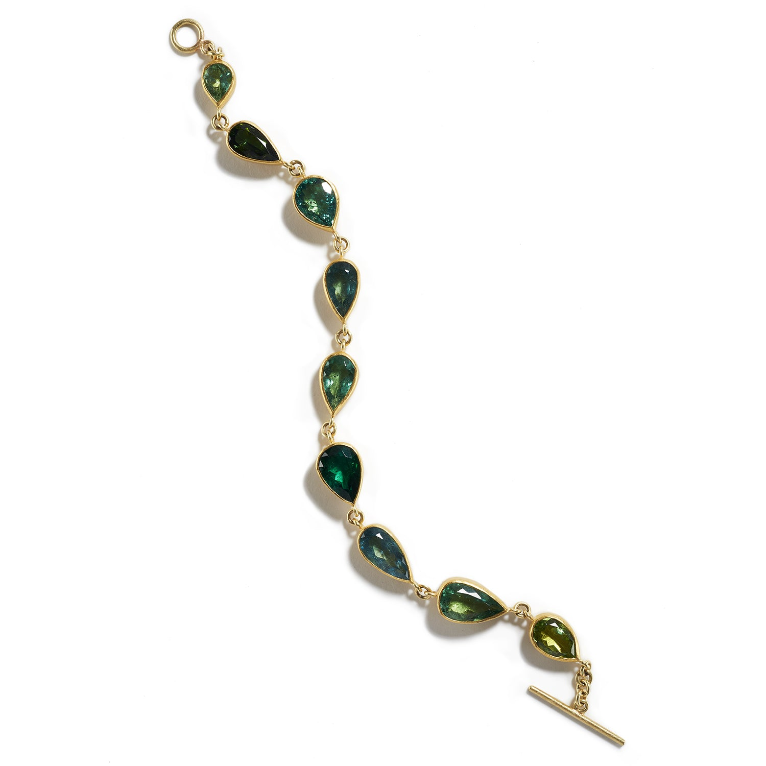 Shades of Green Tourmaline Bracelet