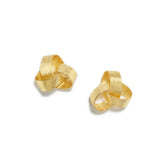 Triple Golden Knot Stud Earrings