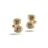 Double Layered Diamonds in Gold Earrings