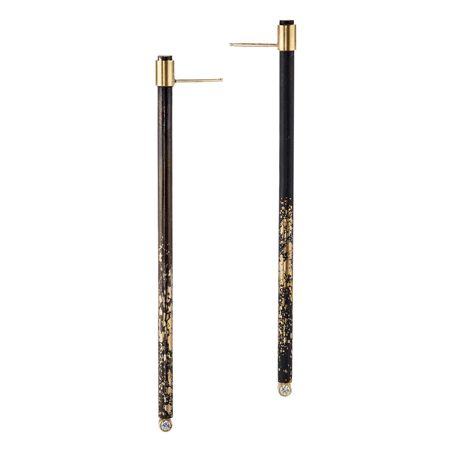 Large Diamond Stick Earrings