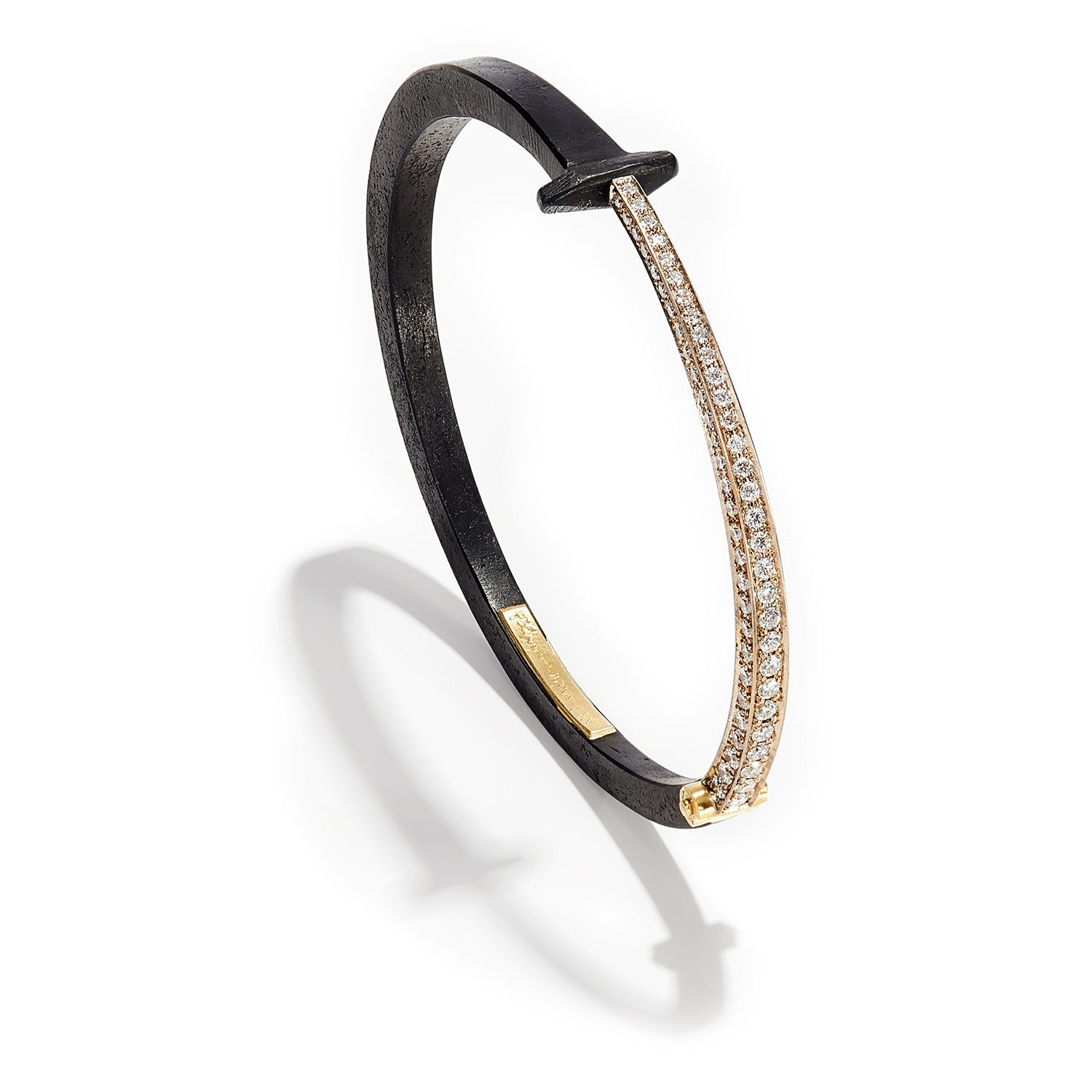 Pave Tail Nail Bracelet by Pat Flynn | bangle Bracelet Diamond Iron ...