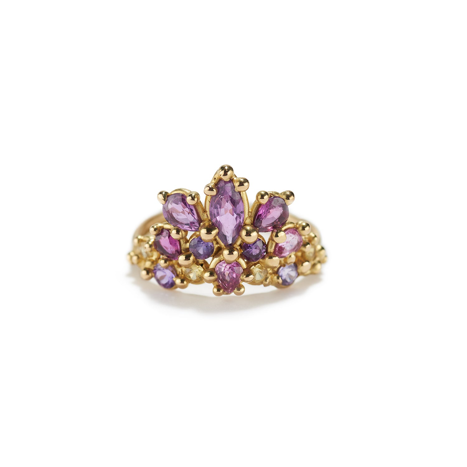Tiara Ring with Purple & Yellow Sapphire