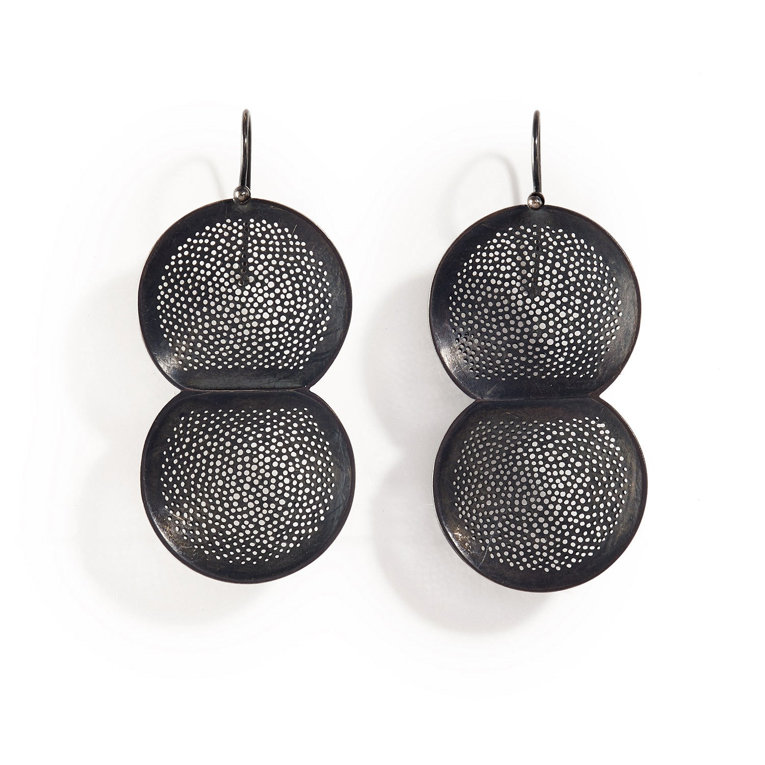 Large Perforated Double Dome Drop Earrings