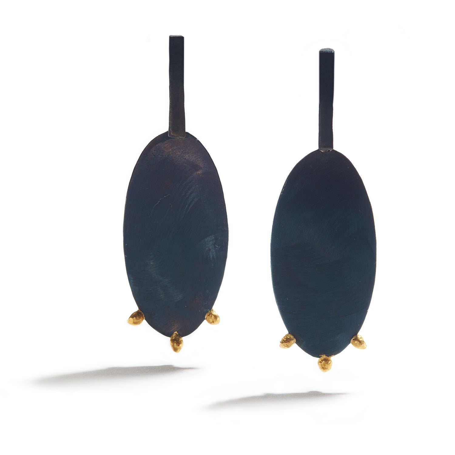 Large Oval Steel & Gold Drops