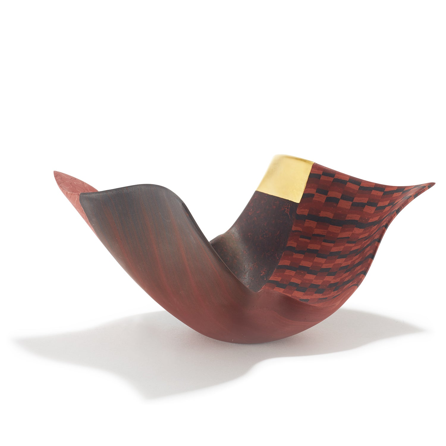 Small Red Arabesque Vessel with Gold Leaf